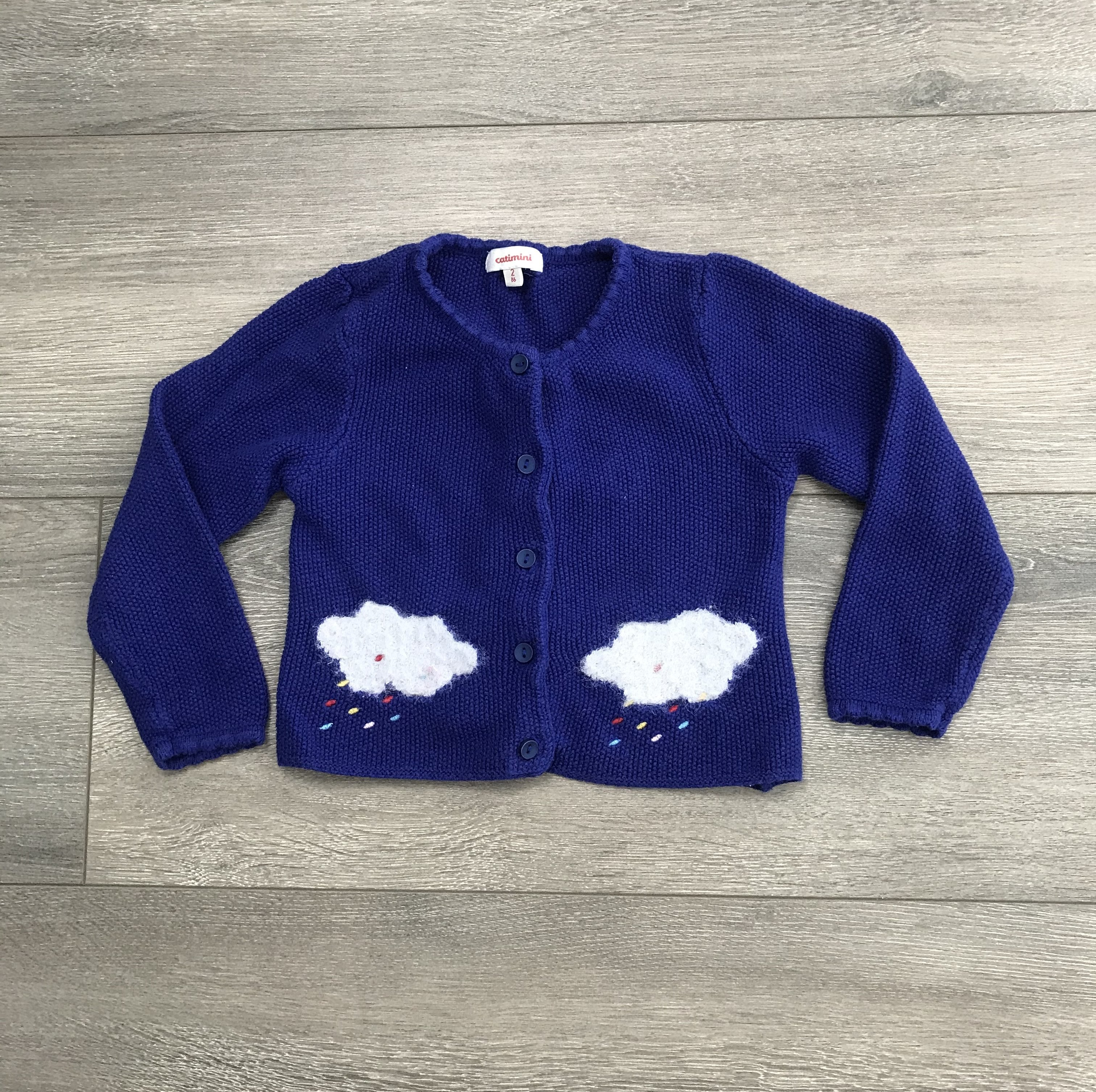 Catimini Cloud Knit Cardigan, Designed in France. Simplistic premium baby clothes., Blue, 38% Modal, 36% Cotton, 26% Polyamide, toddler clothes, 24 months baby cardigan, baby girl cardigan