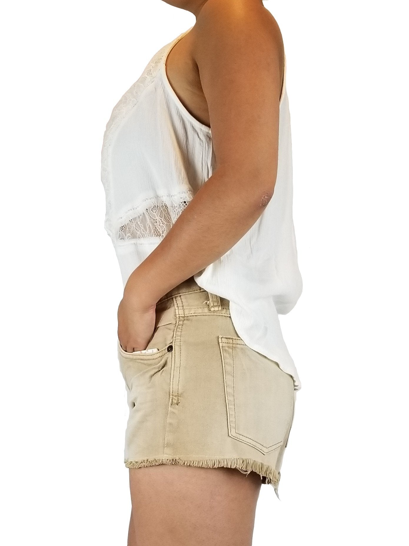 Free people Khaki jean shorts, Roses are red. Shorts are short. Snug fit, Yellow, 100% Cotton, Shorts, jean shorts, brand new, fashionable shorts