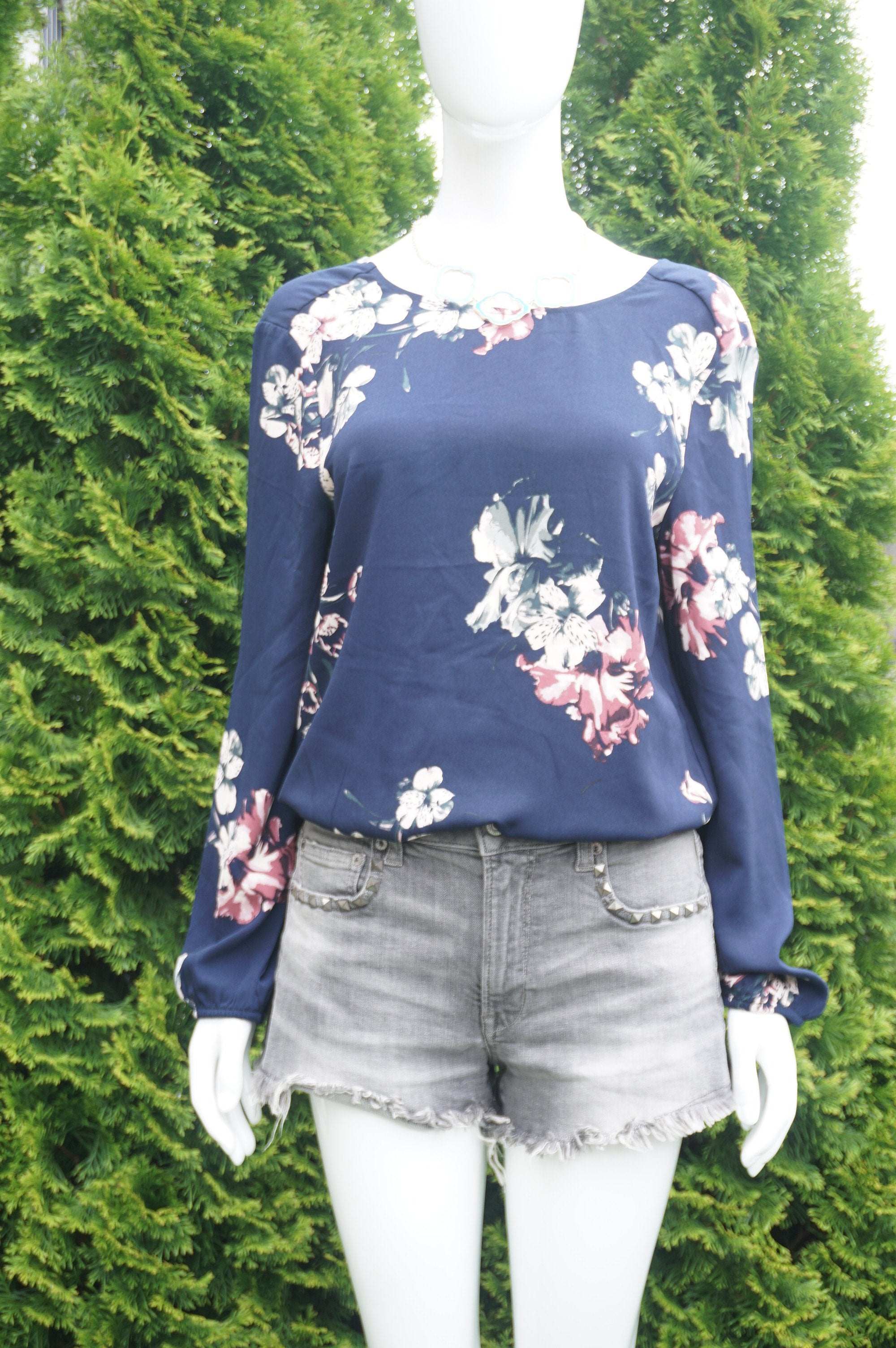 Dynamite Long Sleeve Blue Floral Wrap Back top, Cute floral prints plus a sexy wrap back look for your perfect summer outing., Blue, 100% Polyester, women's Tops, women's Blue Tops, Dynamite women's Tops, wrap back blouse, dark blue top, long sleeve top, long sleeve blouse, open back top, open back blouse