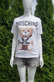 Moschino White T-Shirt With Teddy, Casual but totally stylish!, White, 100% Cotton, women's Tops, women's White Tops, Moschino women's Tops, teddy bear t-shirt, white teddy shirt, designer t-shirt, cute t-shirt