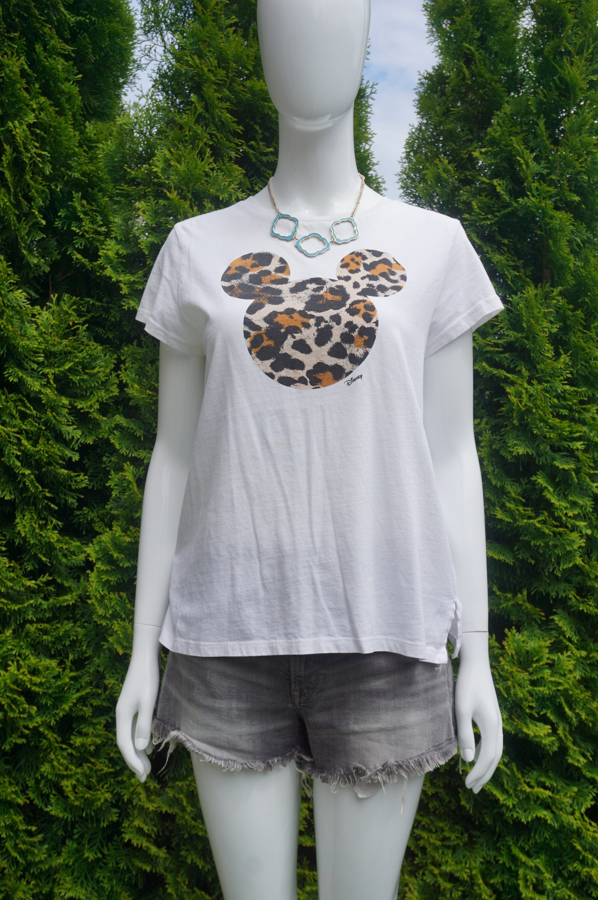 H&M Leopard Print Mickey Mouse T-shirt, Cute t-shirt with unique leopard print Mickey Mouse. Try wearing it tucked in with a pair of casual jeans., White, 100% Cotton, women's Tops, women's White Tops, H&M women's Tops, mickey mouse t-shirt, leopard print Disney mickey mouse t-shirt. Leopard mickey mouse, Disney t-shirt