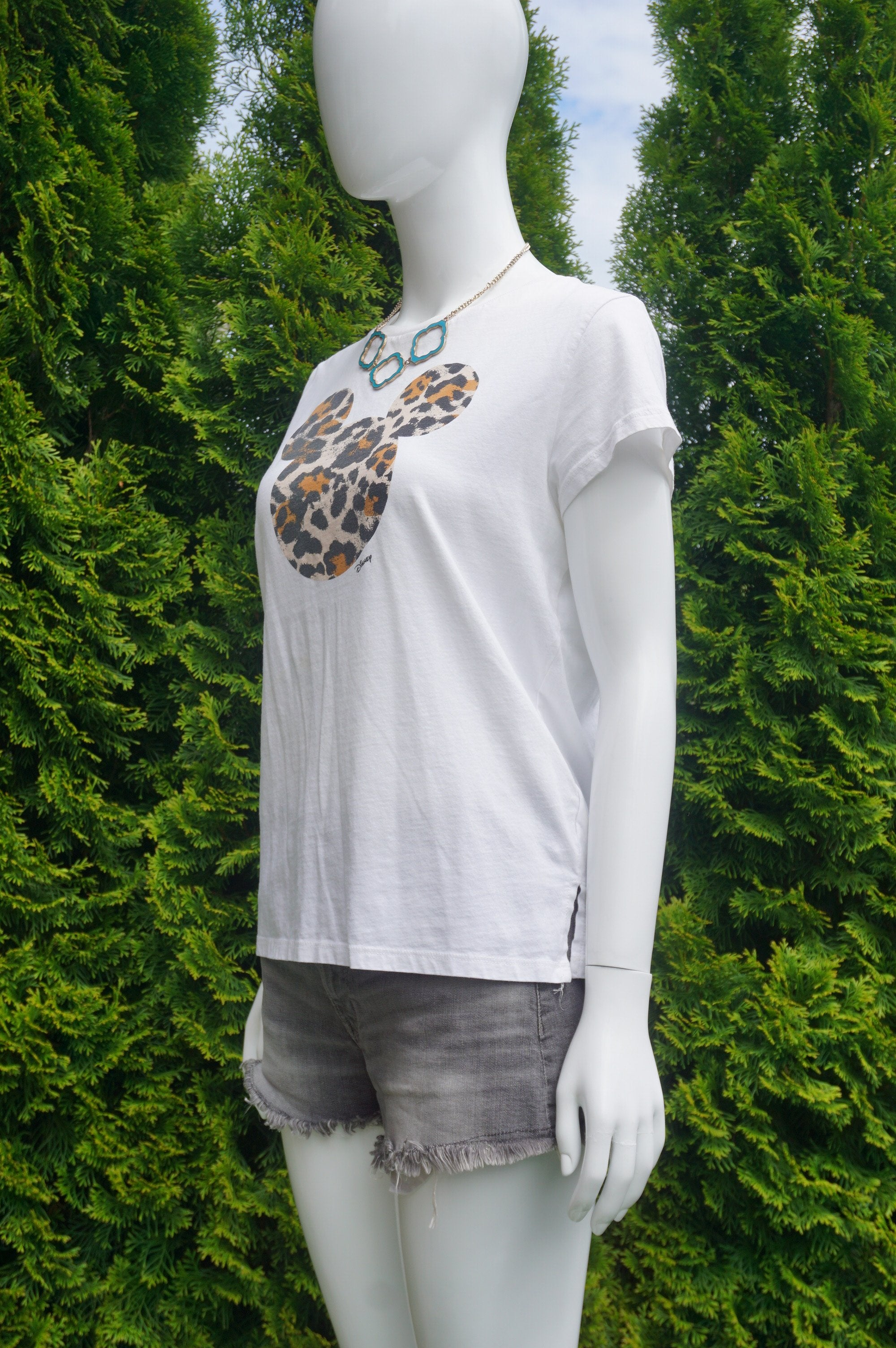 H&M Leopard Print Mickey Mouse T-shirt, Cute t-shirt with unique leopard print Mickey Mouse. Try wearing it tucked in with a pair of casual jeans., White, 100% Cotton, women's Tops, women's White Tops, H&M women's Tops, mickey mouse t-shirt, leopard print disney mickey mouse t-shirt. Leopard mickey mousee, disney t-shirt