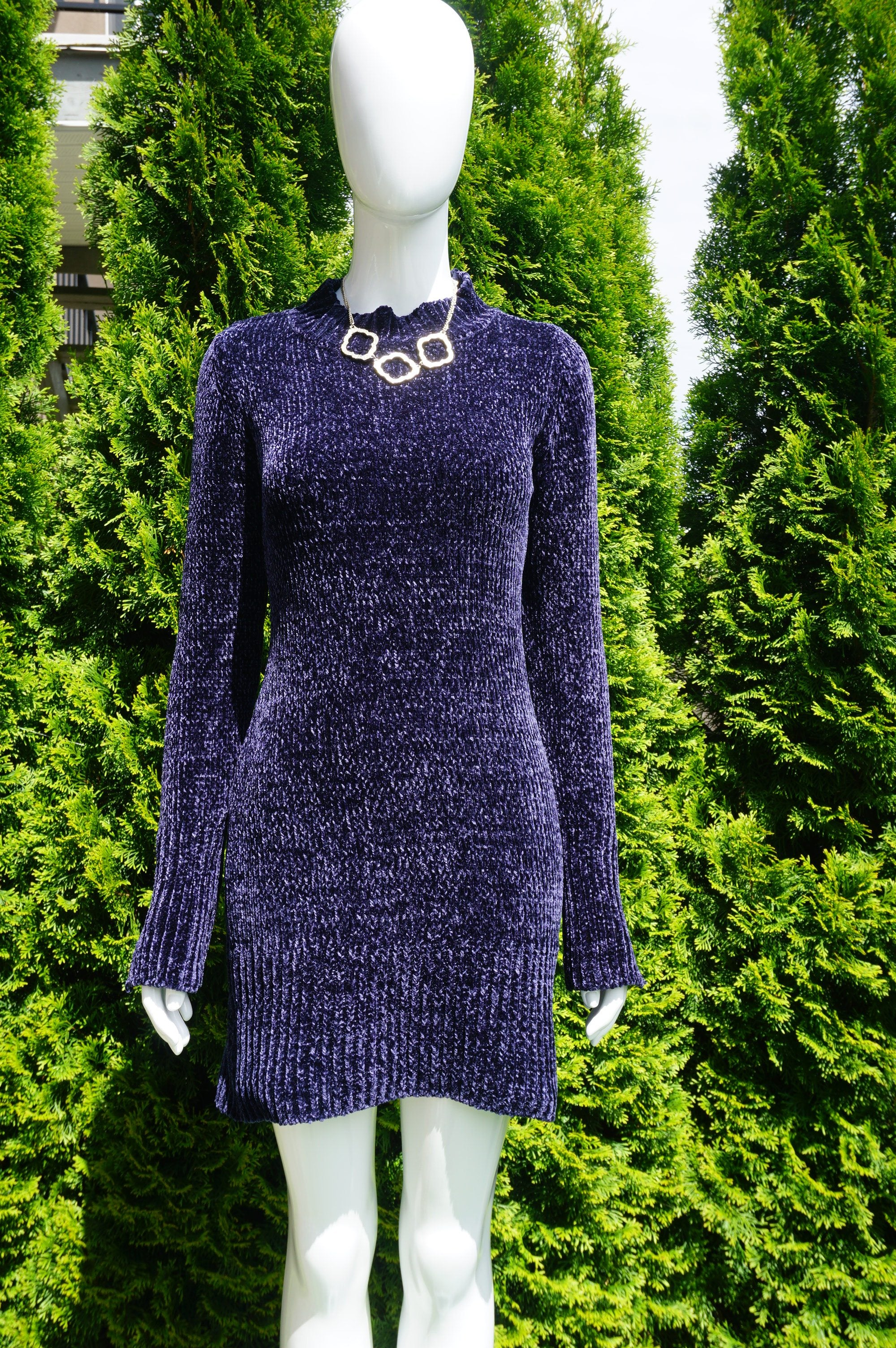Dynamite Dynamite Mock Neck Sweater Dress with Sultry Open Back, Super soft velvety texture. Perfect for the holiday season. Definitely the opposite of an ugly sweater., Blue, 100% Polyester, women's Dresses & Rompers, women's Blue Dresses & Rompers, Dynamite women's Dresses & Rompers, sweater dress, long sweater, velvet sweater, holiday sweater, open back sweater dress,