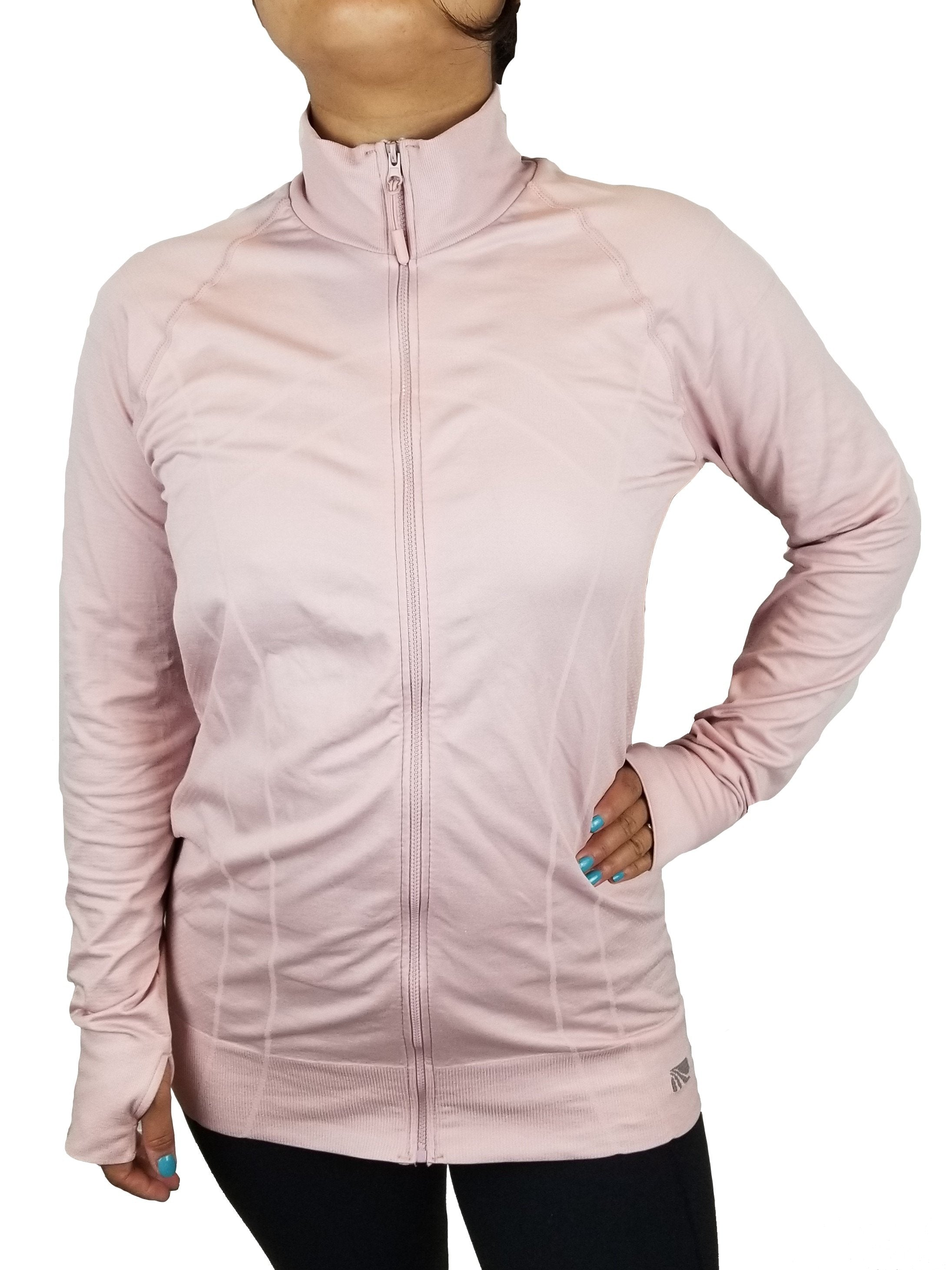 Marika Tek Women's Athletic Jacket, Simple athletic jacket, Pink, 92% Nylon; 8% Spandex, women's Jackets & Coats, women's Pink Jackets & Coats, Marika Tek women's Jackets & Coats, Active wear, women jacket, sweater, Women's  zip athletic pink jacket, slim fit jacket with zip front with thumbholes