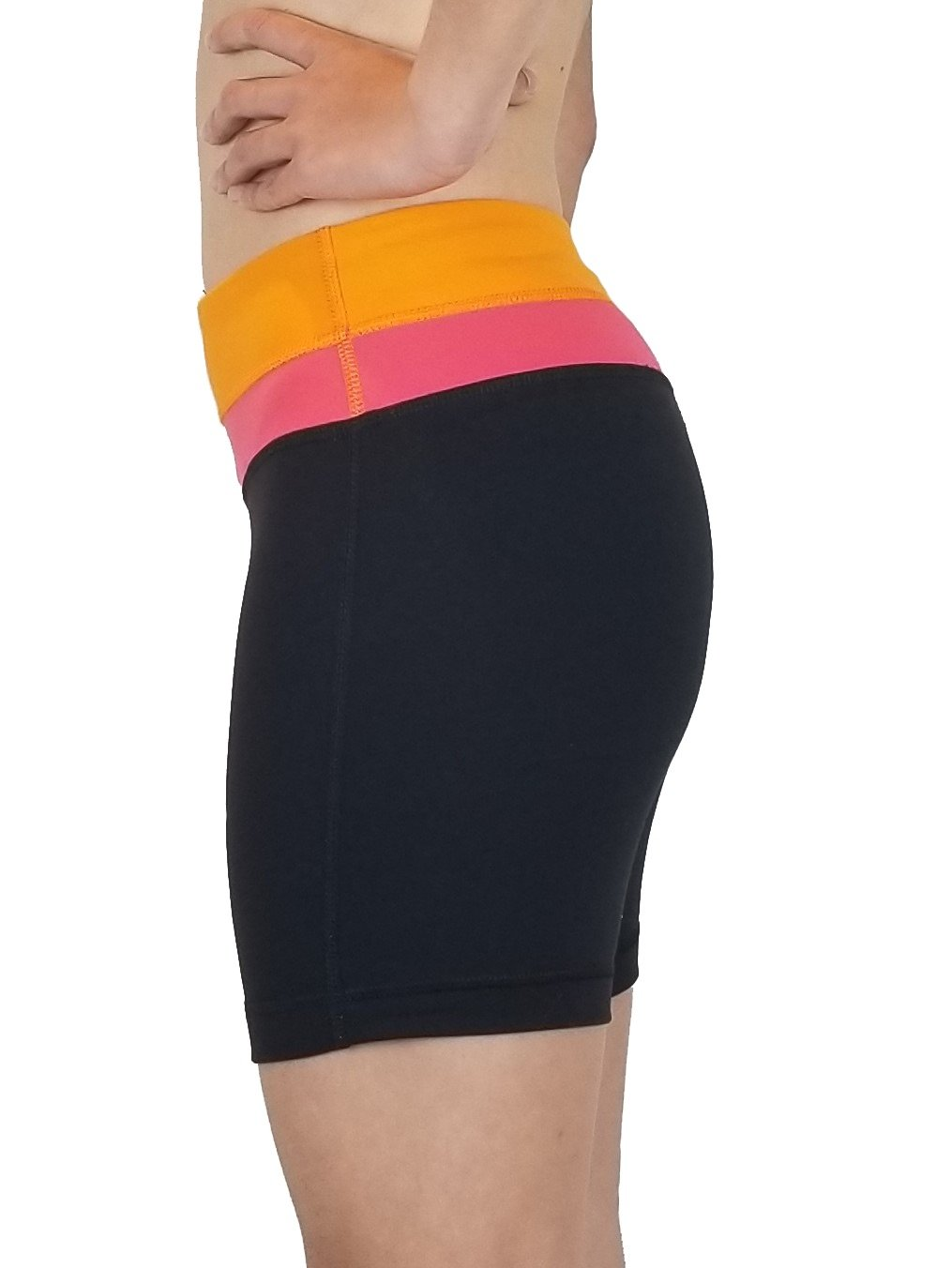 Lululemon Align Shorts 4'' Yoga, High waist align shorts perfect for your active life style. Lululemon size 2. https://info.lululemon.com/help/size-chart, Black, Orange, Pink, Ntlon, Lycra, and Spandex, Yoga, yoga pants, athletic wear, work out, comfortable pants, fitness, fit