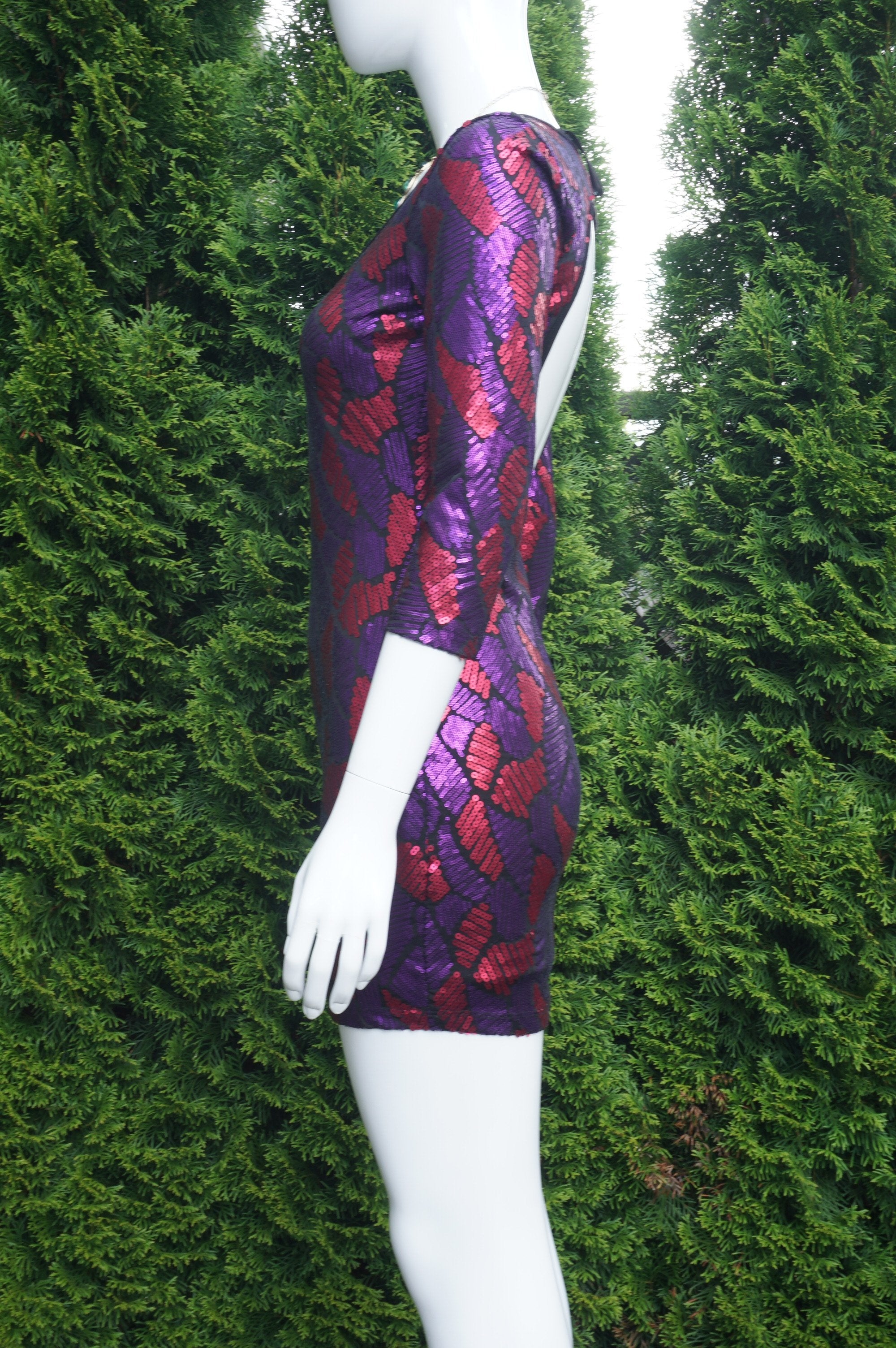 Marciano Open Back Sequin Dress, Measurements when relaxed: Shoulder to Shoulder 14 inches, bust 32 inches, waist 27 inches, hip 34 inches. Dress is very stretchy. , Purple, Red, 90% Polyester 10% Spandex, women's Dresses & Rompers, women's Purple, Red Dresses & Rompers, Marciano women's Dresses & Rompers, Sequin dress, open back dress,