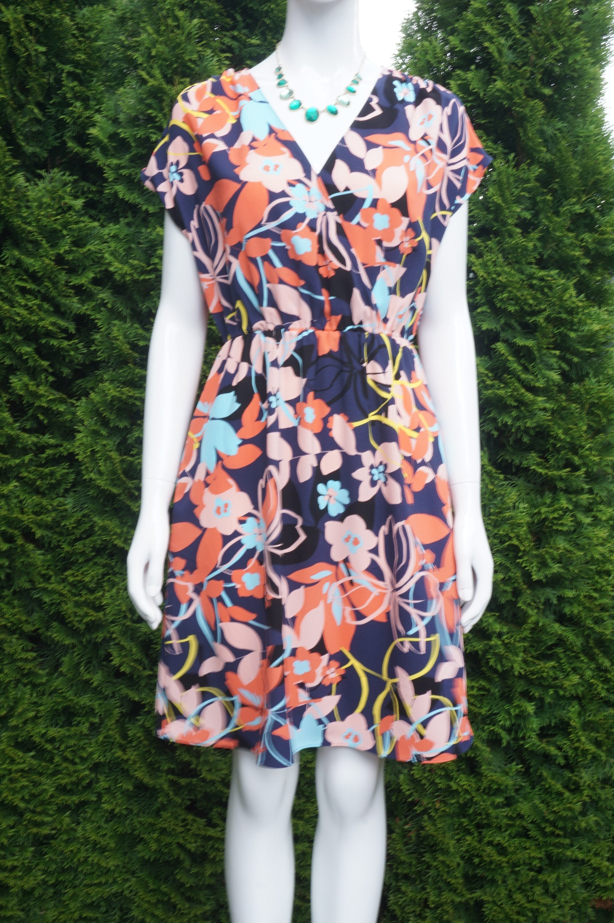 Halogen Floral Summer Dress with Elastic Waistband, Measurements: Bust 38 inches, waist 27 inches (when elastic is relaxed) Length 37 inches. Relaxed fit. Like new condition., Pink, Blue, 100% Polyester, women's Dresses & Rompers, women's Pink, Blue Dresses & Rompers, Halogen women's Dresses & Rompers, floral summer dress, loose fitting dress, cute summer dress
