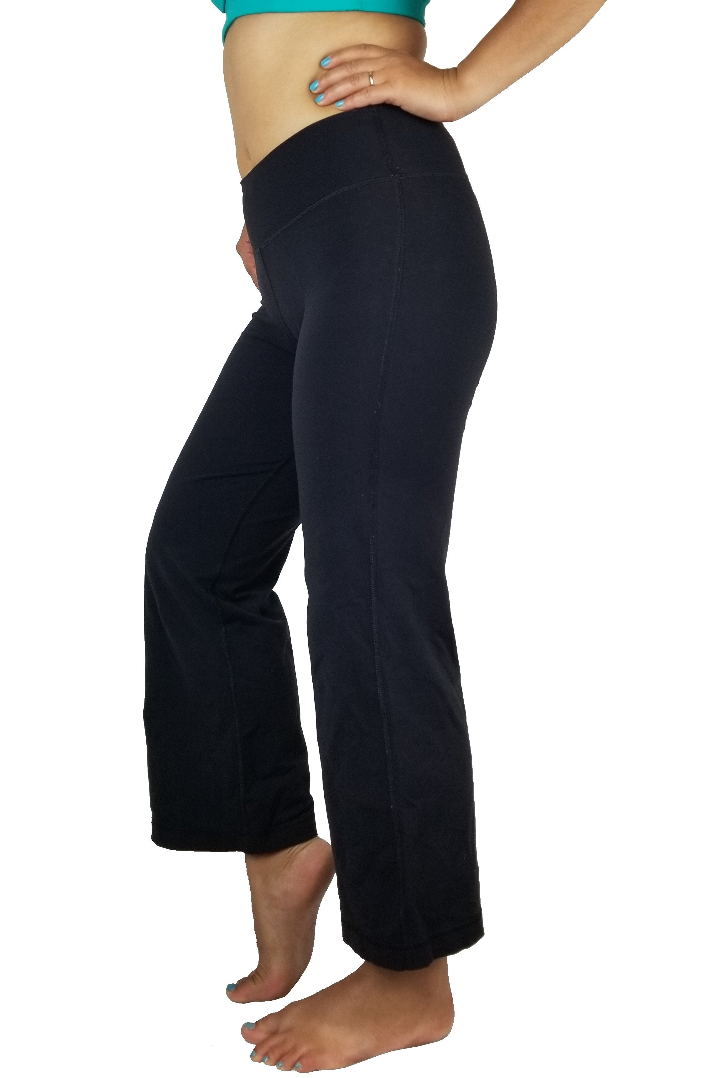 Lululemon flare yoga pants, Flare design for comfort and breathability. Less of a Vancouver street wear? Lululemon size 2. https://info.lululemon.com/help/size-chart, Black, Nylon, Lycra, and Spandex, Yoga, yoga pants, women's athletic wear, women's work out clothes, women's comfortable pants, fitness, fit
