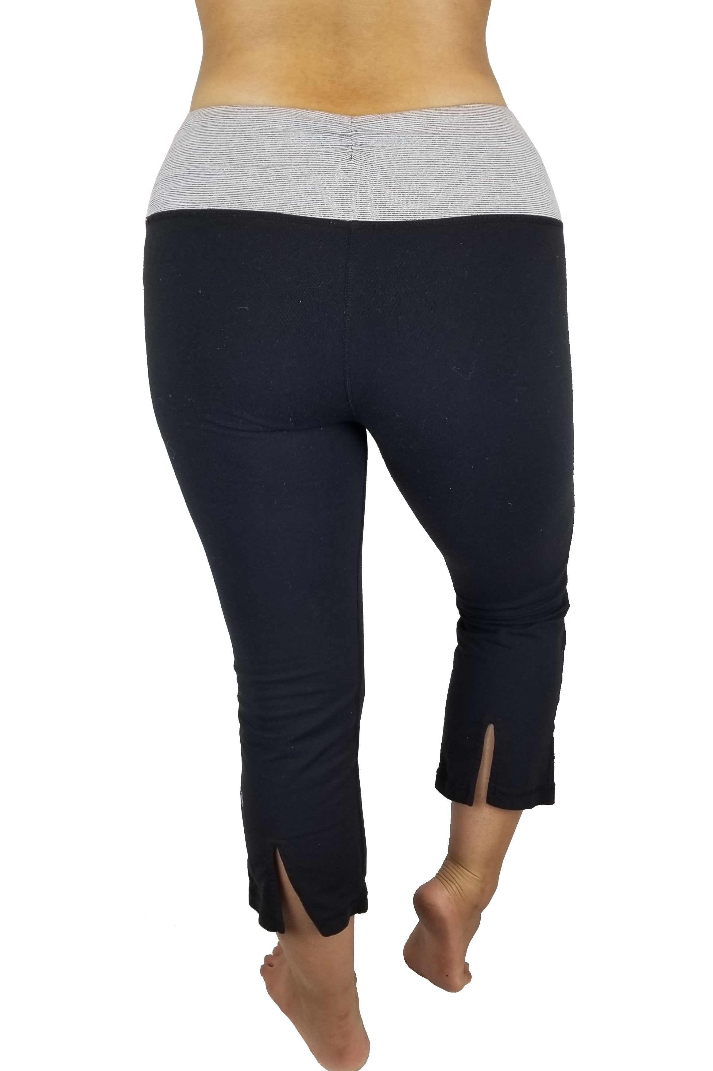 Lululemon Ankle length wide yoga pants, Vancouver street wear/Yoga pants.Lululemon size 6. https://info.lululemon.com/help/size-chart, Black, Grey, Nylon, Lycra, and Spandex, Yoga, yoga pants, women's athletic wear, women's work out clothes, women's comfortable pants, fitness, fit