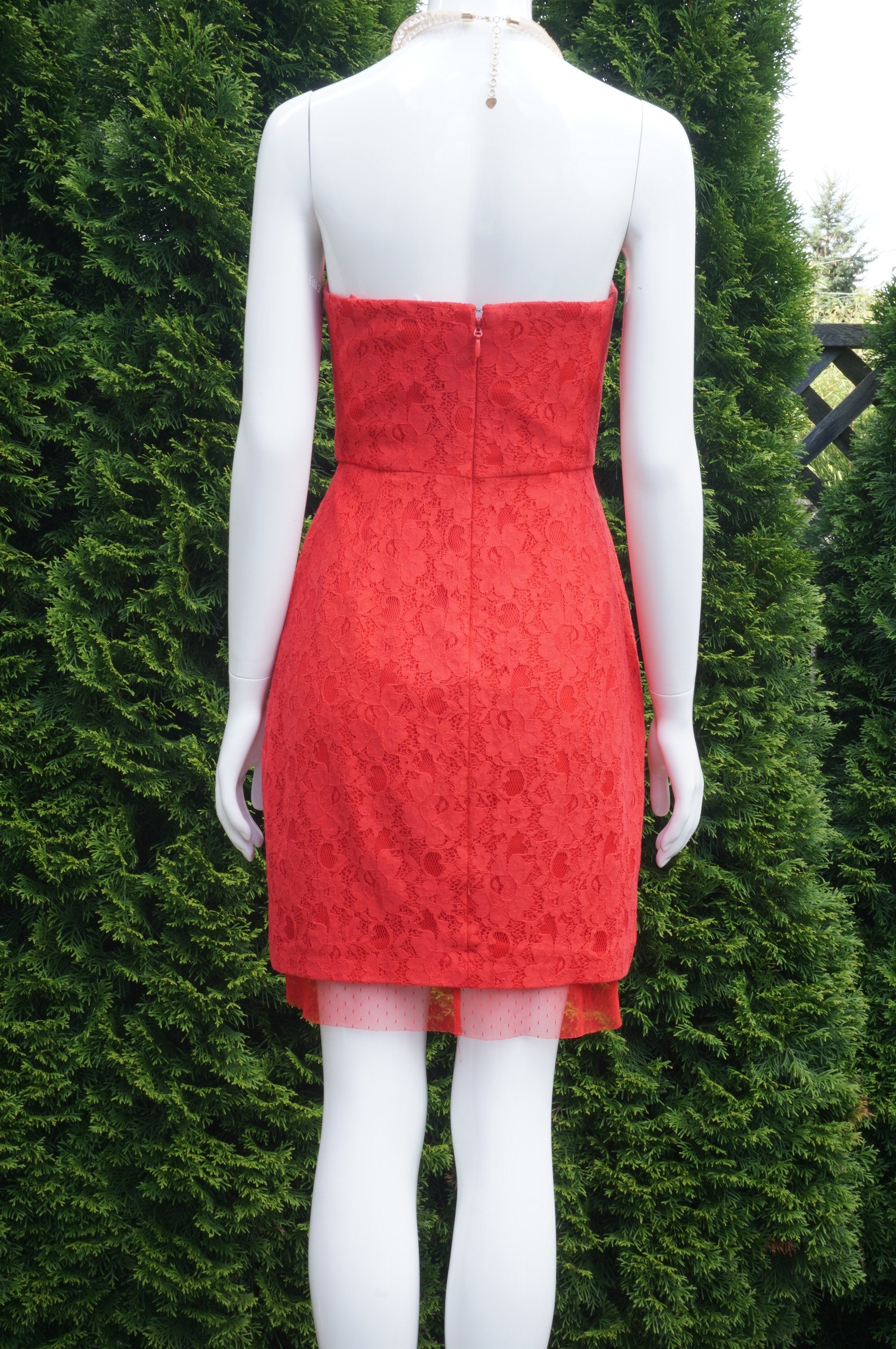 BCBGMAXAZRIA Red Lace Strapless Mini Dress,  Bust 33 inches, waist 26 inches, length 30 inches. Sticky liner inside of bra cups for added security. Zipper in back., Red, Shell: 77% Cotton, 23% Nylon. Lining: 100% Polyester, women's Dresses & Rompers, women's Red Dresses & Rompers, BCBGMAXAZRIA women's Dresses & Rompers, Mini dress, lace dress, strapless dress, cocktail dress