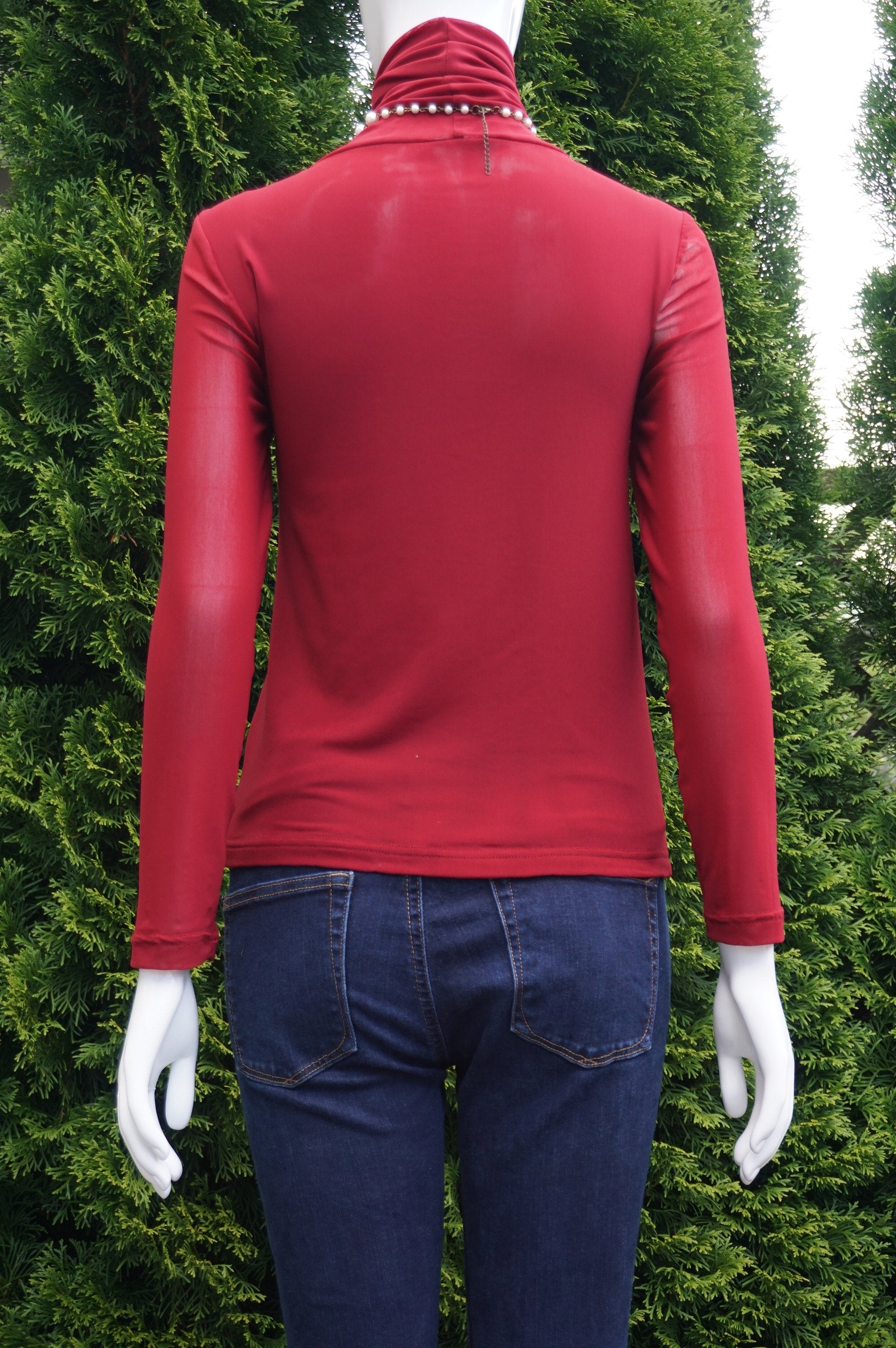 Bomovo Turtle Neck Mesh Sleeve top, Stretchy material. Mesh sleeves, Red, 100% Polyester, women's Tops, women's Red Tops, Bomovo women's Tops, red long sleeve top, red sweater, turtle neck blouse,