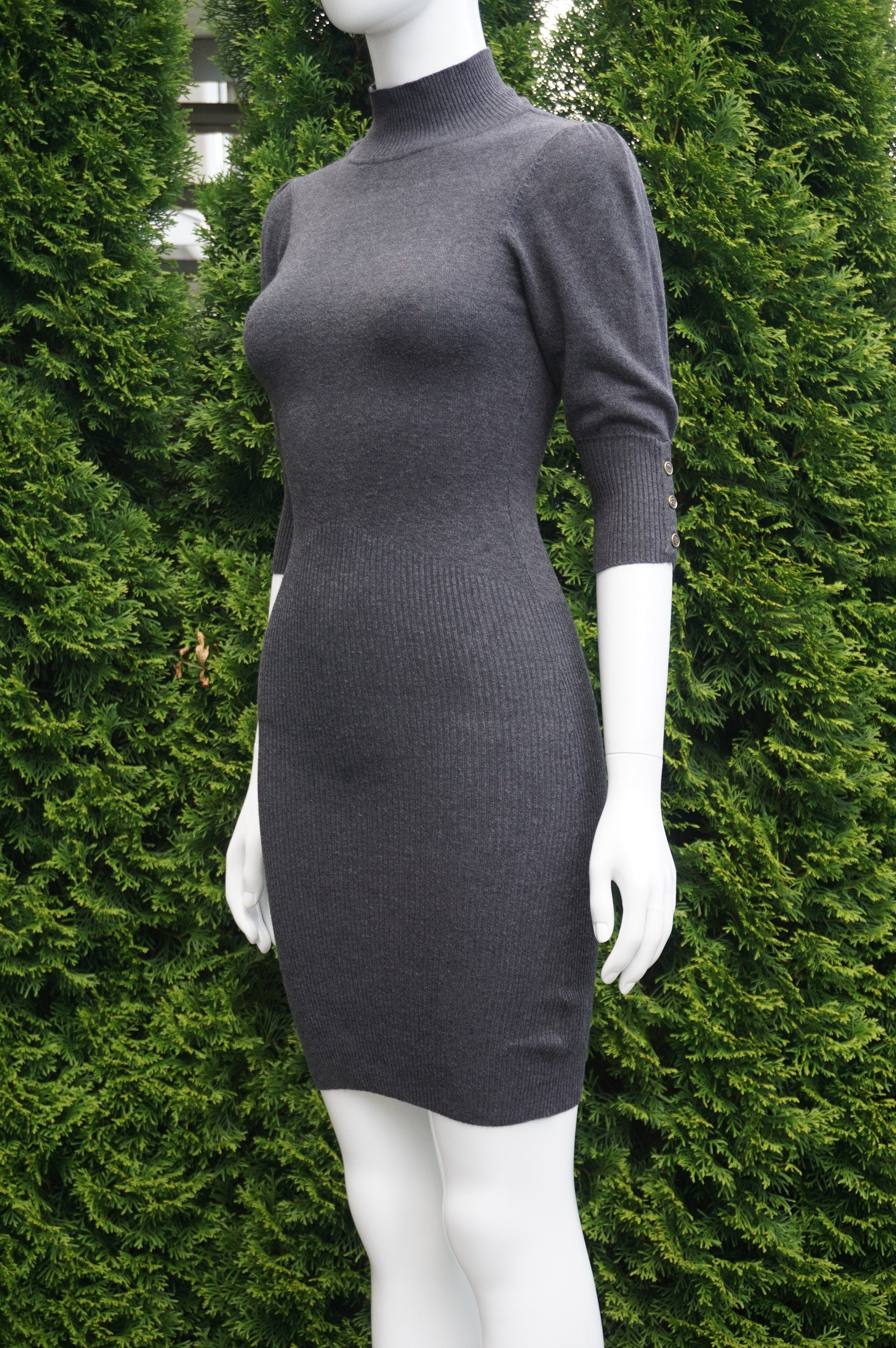Seduction Dark Grey Half Sleeve Scoop Back Turtle Neck Sweater Dress, Bust 26, waist 23, length 36 (inches) when relaxed. Very stretchy., Grey, 62% Rayon, 23% Polyester, 15% Spandex, women's Dresses & Rompers, women's Grey Dresses & Rompers, Seduction women's Dresses & Rompers, warm sweater dress, half sleeve sweater, warm dress, warm winter dress,