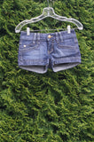 Marciano Jean Shorts, waist measures 26 inches, length 8.5 inches. Shallow pockets in front. Fake pocket in the back (sigh I know), Blue, 98% Cotton, 2% Spandex, women's Pants, women's Blue Pants, Marciano women's Pants, jean shorts, summer short,