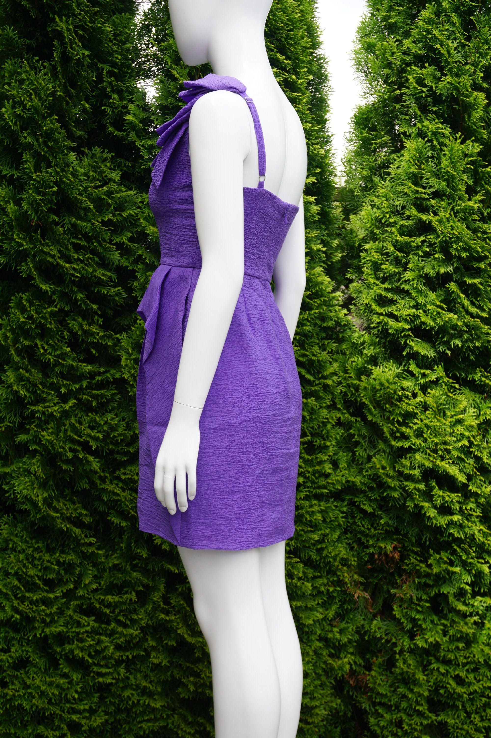 BCBCMAXAZRIA Asymmetrical 3D Ruffle One Shoulder Dress with Ruffle Pencil Skirt, Solid Purple 3D Ruffle One Shoulder Ruffle Skirt Dress, Bridemaids Purple Sheath Asymmetrical Dress, Ruffle Flower One Shoulder Purple Asymmetrical Sheath Dress