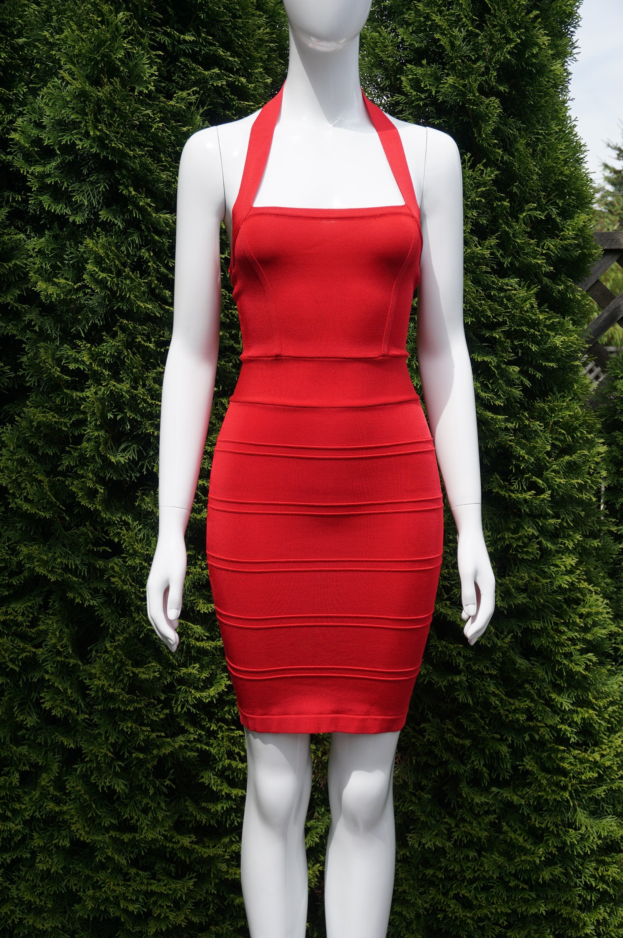 Bebe Solid Red Halted Neck Bodycon Dress , You are confident. Choose an iconic influential solid red body dress that exuberates your brilliance. Breast 25 inches, waist 23 inches, length 36 inches measured from the shoulder., Pink, Red, women's Dresses & Rompers, women's Pink, Red Dresses & Rompers, Bebe women's Dresses & Rompers, Red Bodycon Dress, halted neck dress, sheath dress