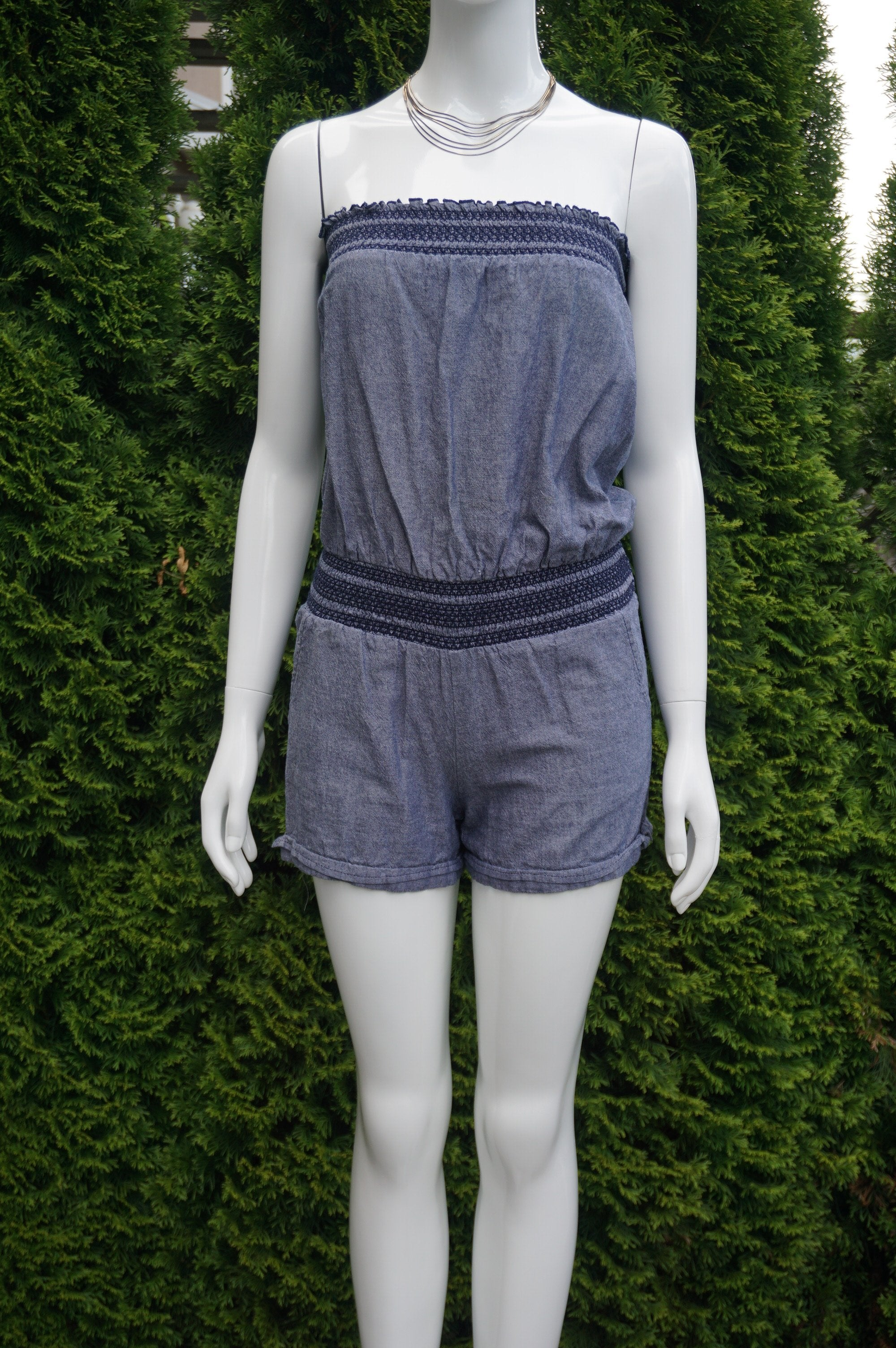 Honolua Wahine Strapless Elastic Tube Romper , Cute, sexy, and comfy - this jumpsuit is the whole package. Elastic top measures 24 inches, breast measures 36 inches, length 23 inches measured from top of breast. , Blue, women's Dresses & Rompers, women's Blue Dresses & Rompers, Honolua Wahine women's Dresses & Rompers, Jumpsuit, Romper,Spaghetti banded strap romper, banded tube romper, banded strapless jumpsuit