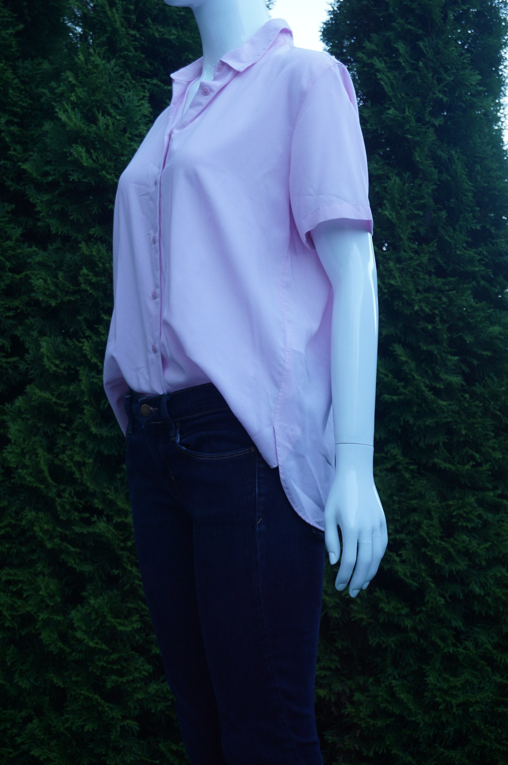 Uniqlo Light Pink Short Sleeve Shirt, Rayon and polyester material makes a very comfy and minimalistic shirt, Pink, women's Tops, women's Pink Tops, Uniqlo women's Tops, dress shirt, simple pink work shirt, office shirt, professional shirt