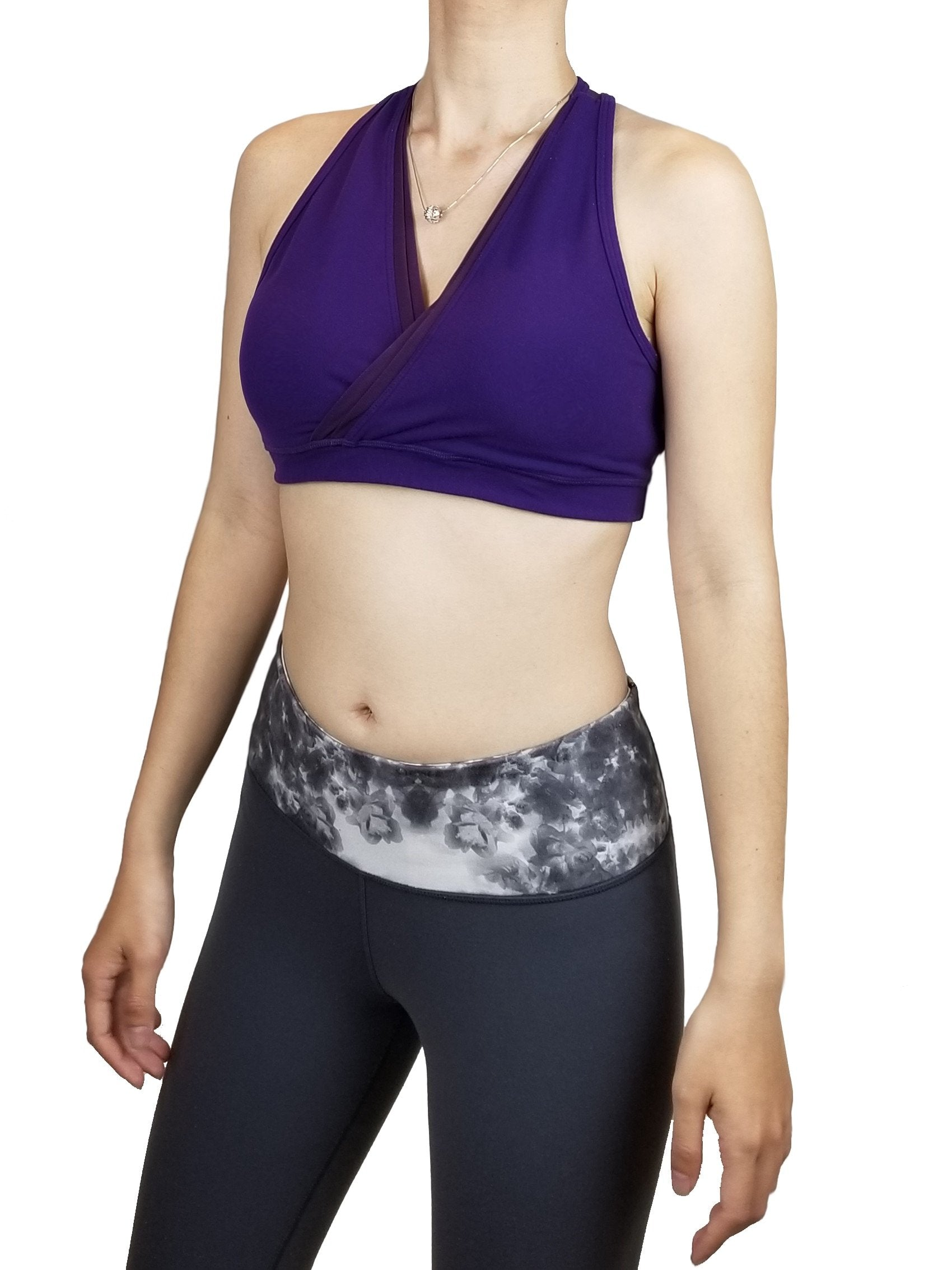 Lululemon V-Neck Athletic Bra, This sweat-wicking V-neck bra gives you the coverage and support you need for yoga, running, or the gym—without restricting your movement or breath. Lululemon size 6. https://info.lululemon.com/help/size-chart, Purple, 77% Nylon, 23% Lycra, active wear, women's workout clothes, sports bras, athletic bras, women's active wear