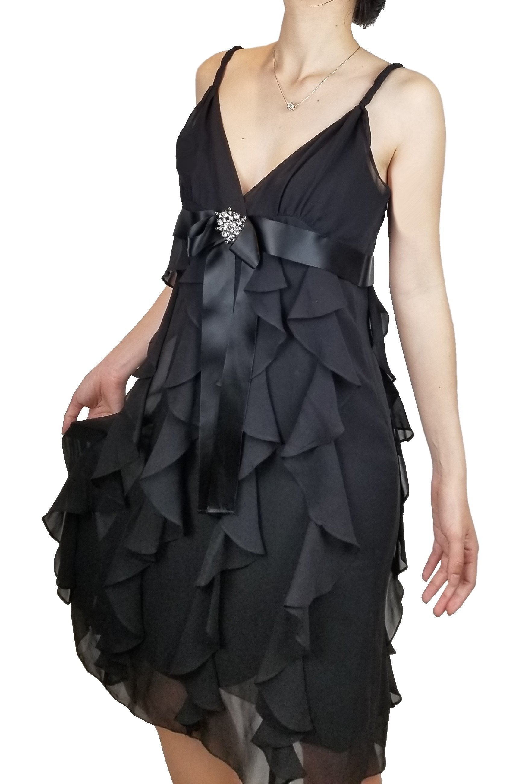 BCBGMAXAZRIA Flowy Cocktail Dress with Front Crystal Tie, Look and feel your best in this flowy cocktail dress perfect. Its front crystal bow tie at the waist accentuates the positives of your figure in this., Black, 71% Cotton 27% Polyester 2% Spandex , women's Dresses & Rompers, women's Black Dresses & Rompers, BCBGMAXAZRIA women's Dresses & Rompers, dress, women's party black dress, women's black designer's formal dress, black prom dress, fashion, spaghetti strapped black dress, featured