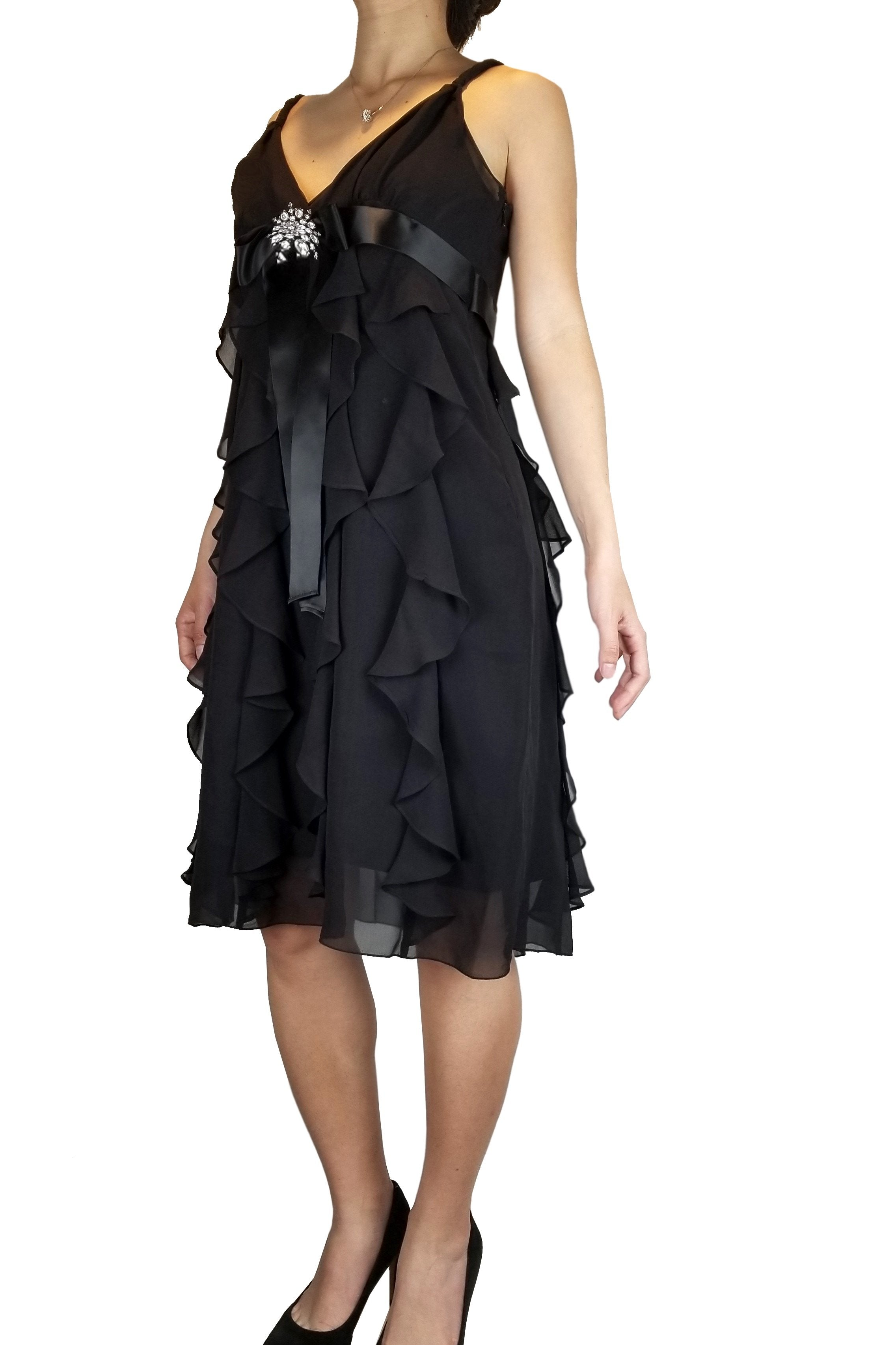 BCBGMAXAZRIA Flowy Cocktail Dress with Front Crystal Tie, Look and feel your best in this flowy cocktail dress perfect. Its front crystal bow tie at the waist accentuates the positives of your figure in this., Black, 71% Cotton 27% Polyester 2% Spandex , dress, women's party black dress, women's black designer's formal dress, black prom dress, fashion, black dress, featured