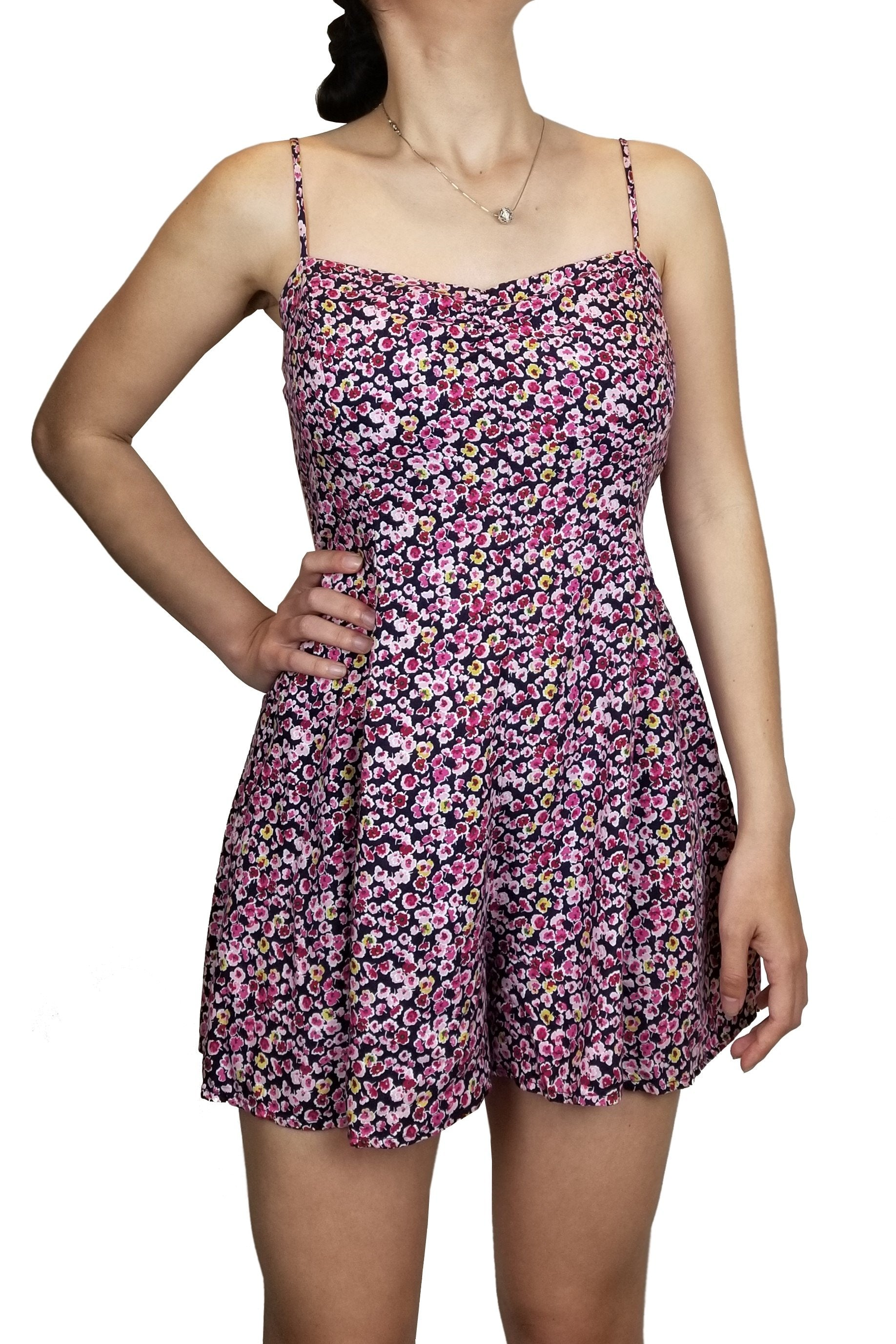 Timing Simple Flower Print Romper, Petite cute floral romper, casual walk on the beach anyone?, Pink, 100% Rayon, women's Dresses & Rompers, women's Pink Dresses & Rompers, Timing women's Dresses & Rompers, Dress, cute spaghetti strap mini dress, summer floral dress with self-tie back, summer floral romper