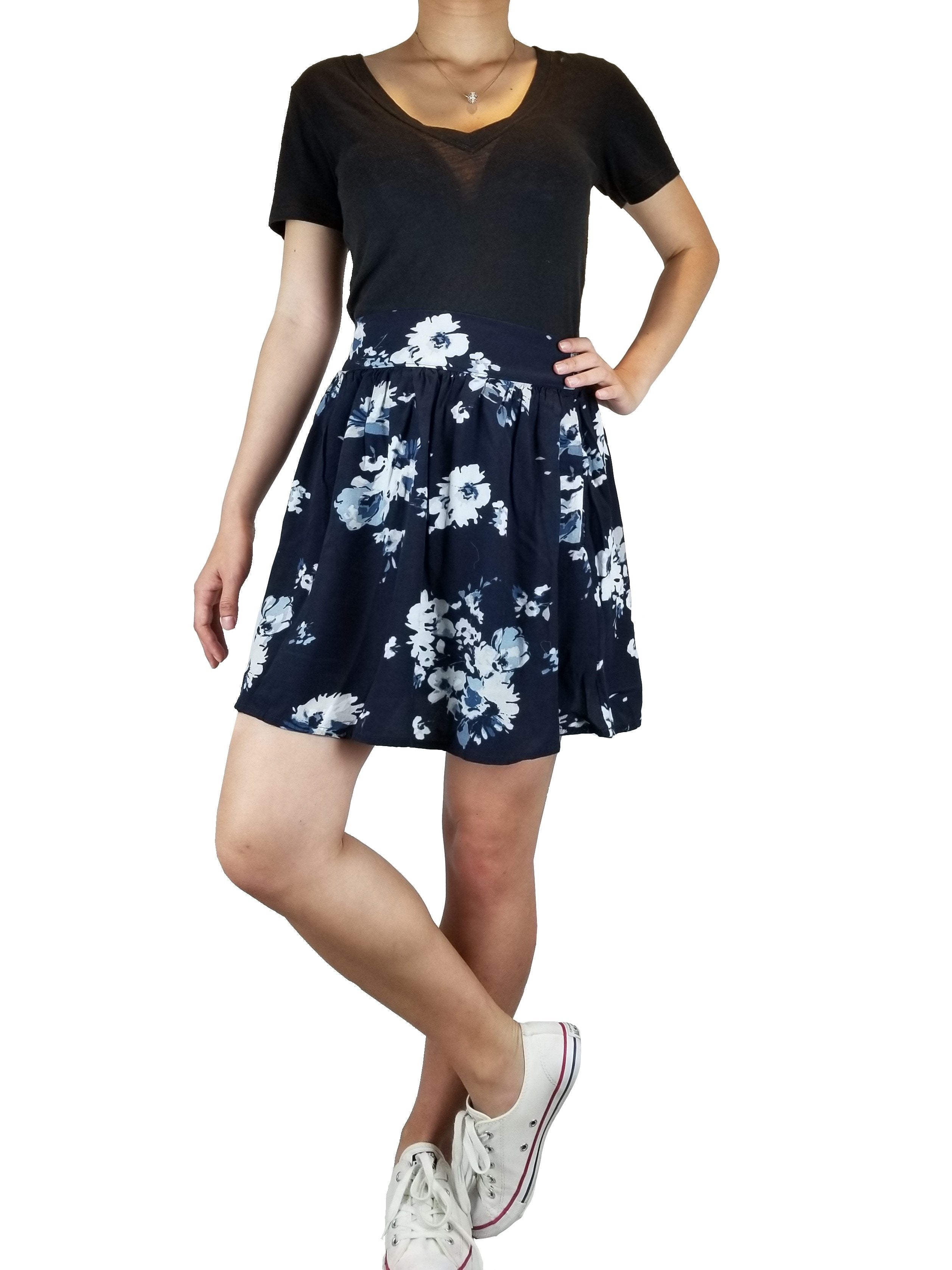 Garage Flower skirt, Summer skirt, Blue, 58% Viscose, 42% Rayon, women's Skirts & Shorts, women's Blue Skirts & Shorts, Garage women's Skirts & Shorts, mini floral skirt, blue and white floral mini skirt, skirt