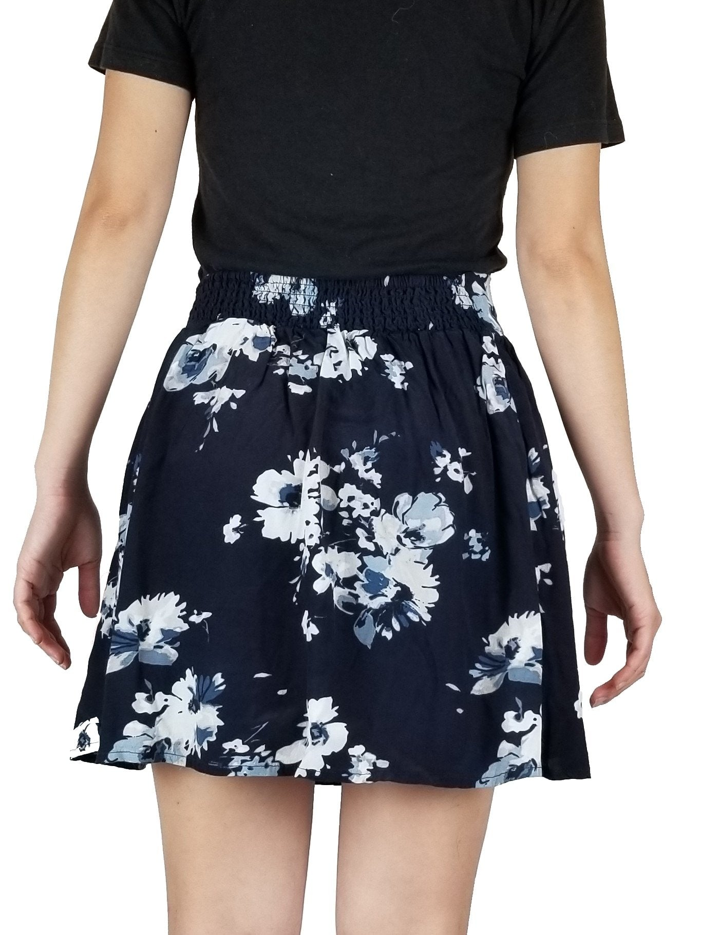 Garage Flower skirt, Summer skirt, Blue, 58% Viscose, 42% Rayon, mini floral skirt, blue and white floral mini skirt, skirt