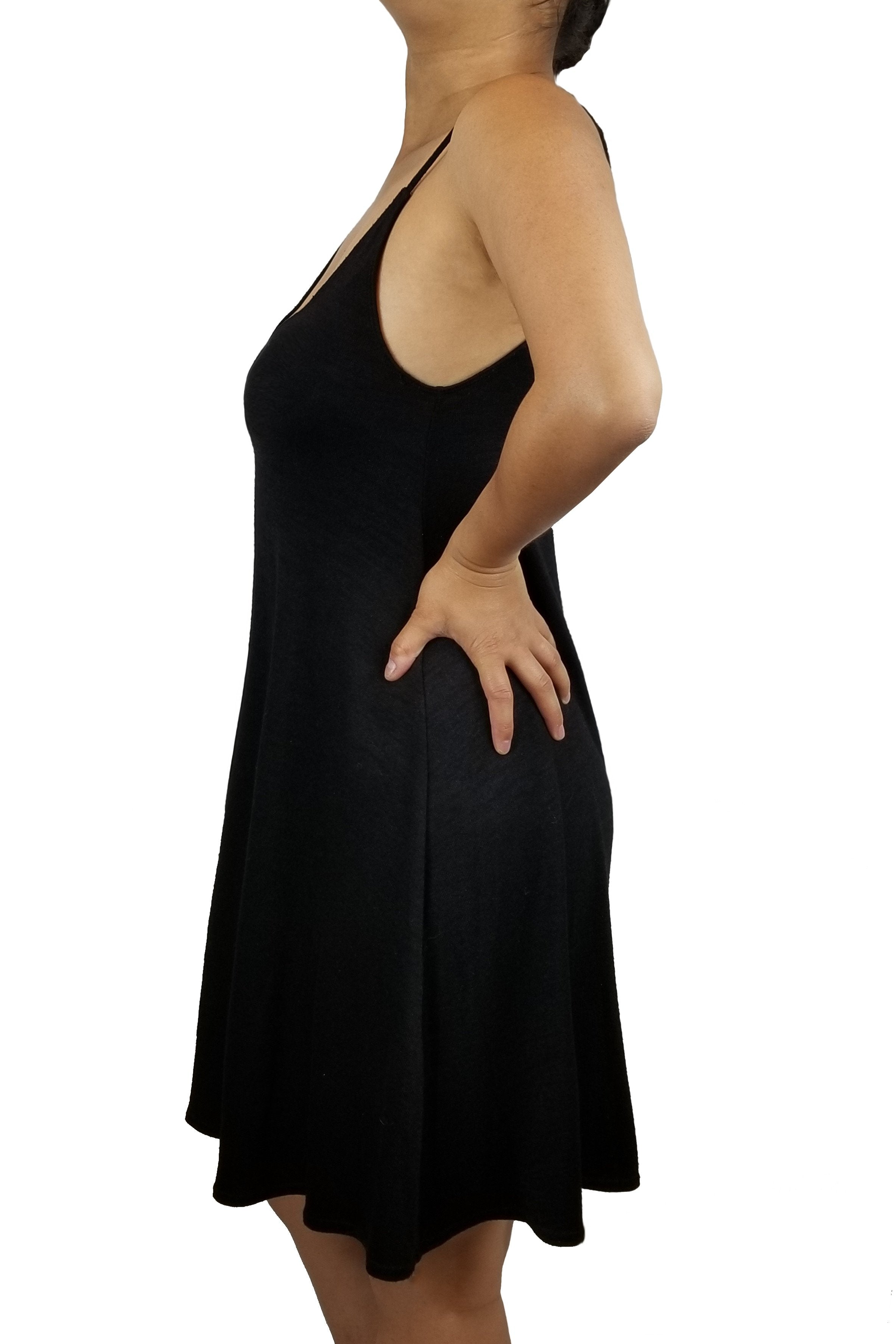 Wilfred Free Open back Spaghetti Strap Shift Dress, Comfortable and simple spaghetti strap dress for your days off., Black, 48% Rayon, 48% Polyester, 4% Spandex, Open back black mini dress, comfy black mini dress, simple cute black dress