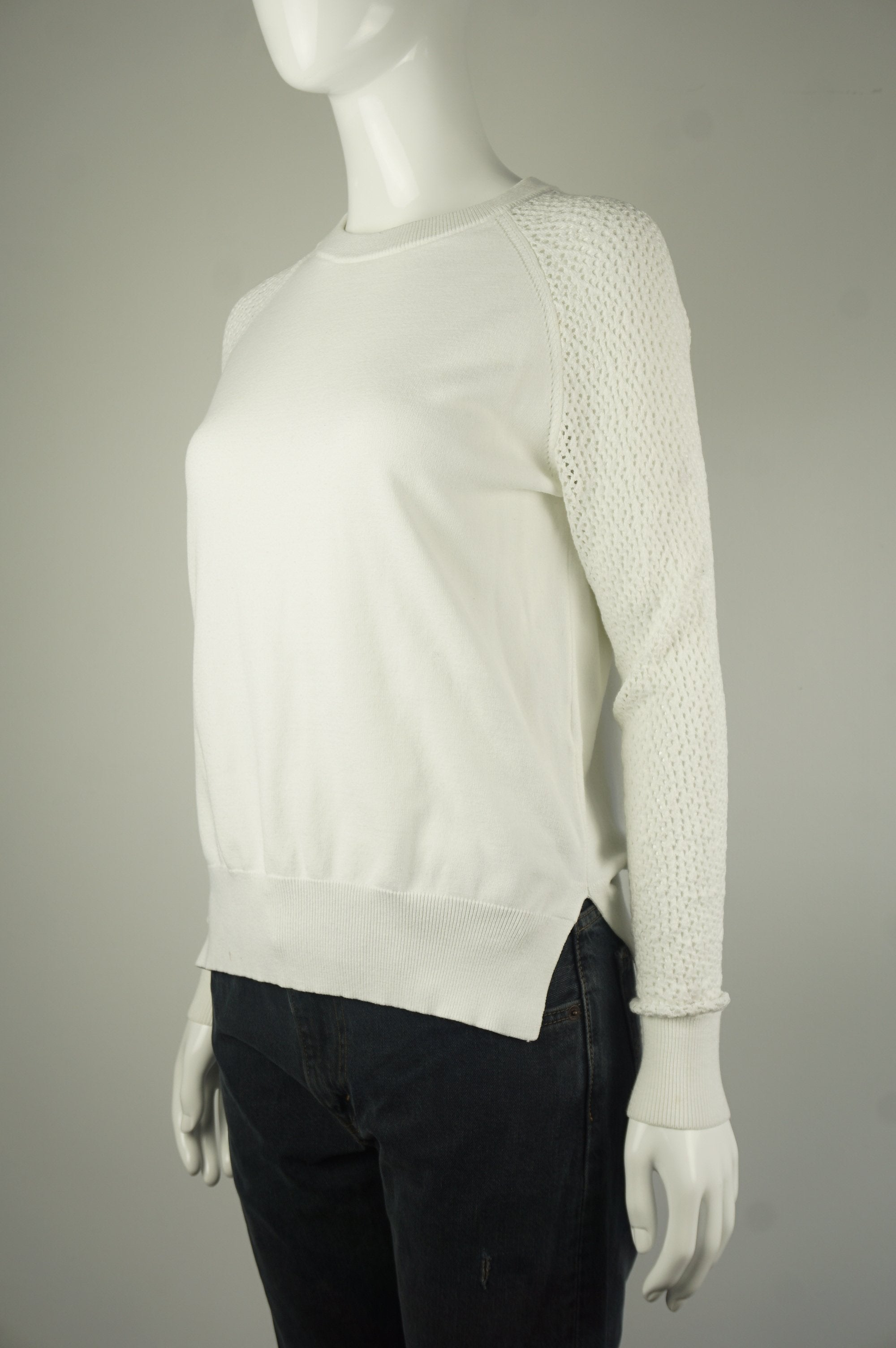 Wilfred White Sweater, Elegant yet casual sweater, White, , women's white sweater, women's white sweater with lace sleeves