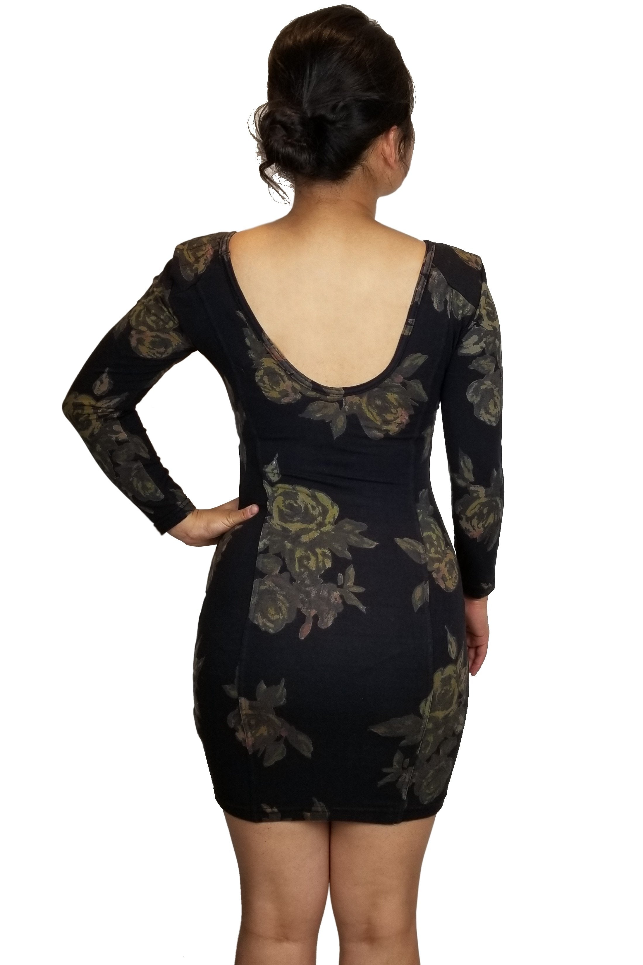 Wilfred Scoop Back Black floral dress, Body hugging dress with scoop back and a unique floral design, all for you to show the edges and curves!, Black, 92% Cotton 6% Spandex, Shoulder fill: 100% Polyester, Dress, scoop back dress, soft dress, body hugging dress