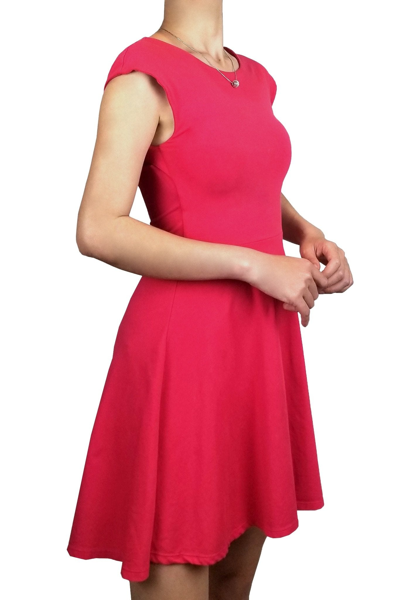 Talula Fit and Flare Mini Dress, Feel beautiful in this fit and flare, vibrant pink mini dress., Pink, 95% Cotton 5% Spandex, women's Dresses & Rompers, women's Pink Dresses & Rompers, Talula women's Dresses & Rompers, dress, summer vibrant pink dress with self-tie open back, party hot pink dress with self-tie open back, casual open back pink dress, fashion, pink self tie open back dress