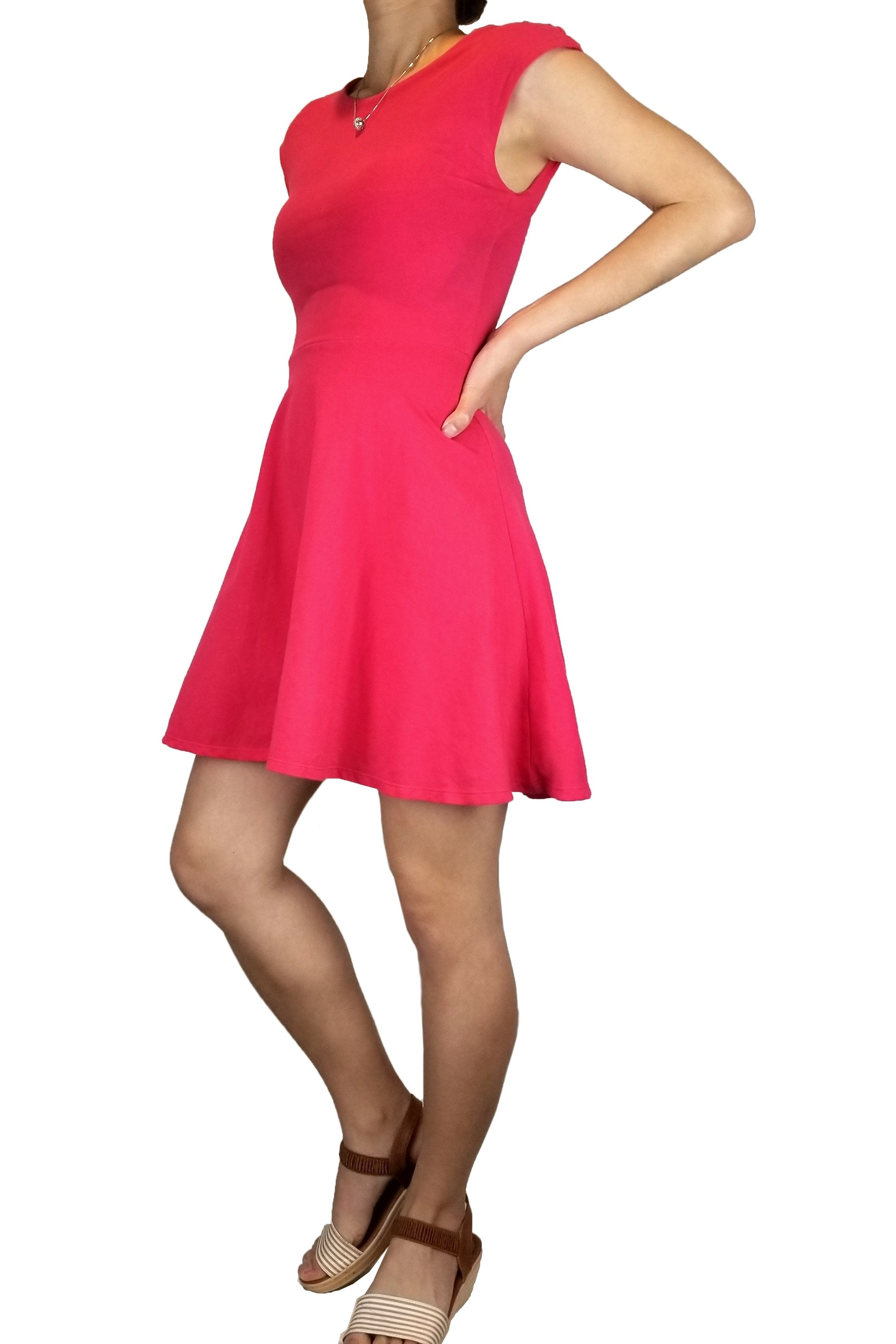 Talula Fit and Flare Mini Dress, Feel beautiful in this fit and flare, vibrant pink mini dress., Pink, 95% Cotton 5% Spandex, dress, summer vibrant pink dress, party hot pink dress, casual open back pink dress, fashion, pink tie dress