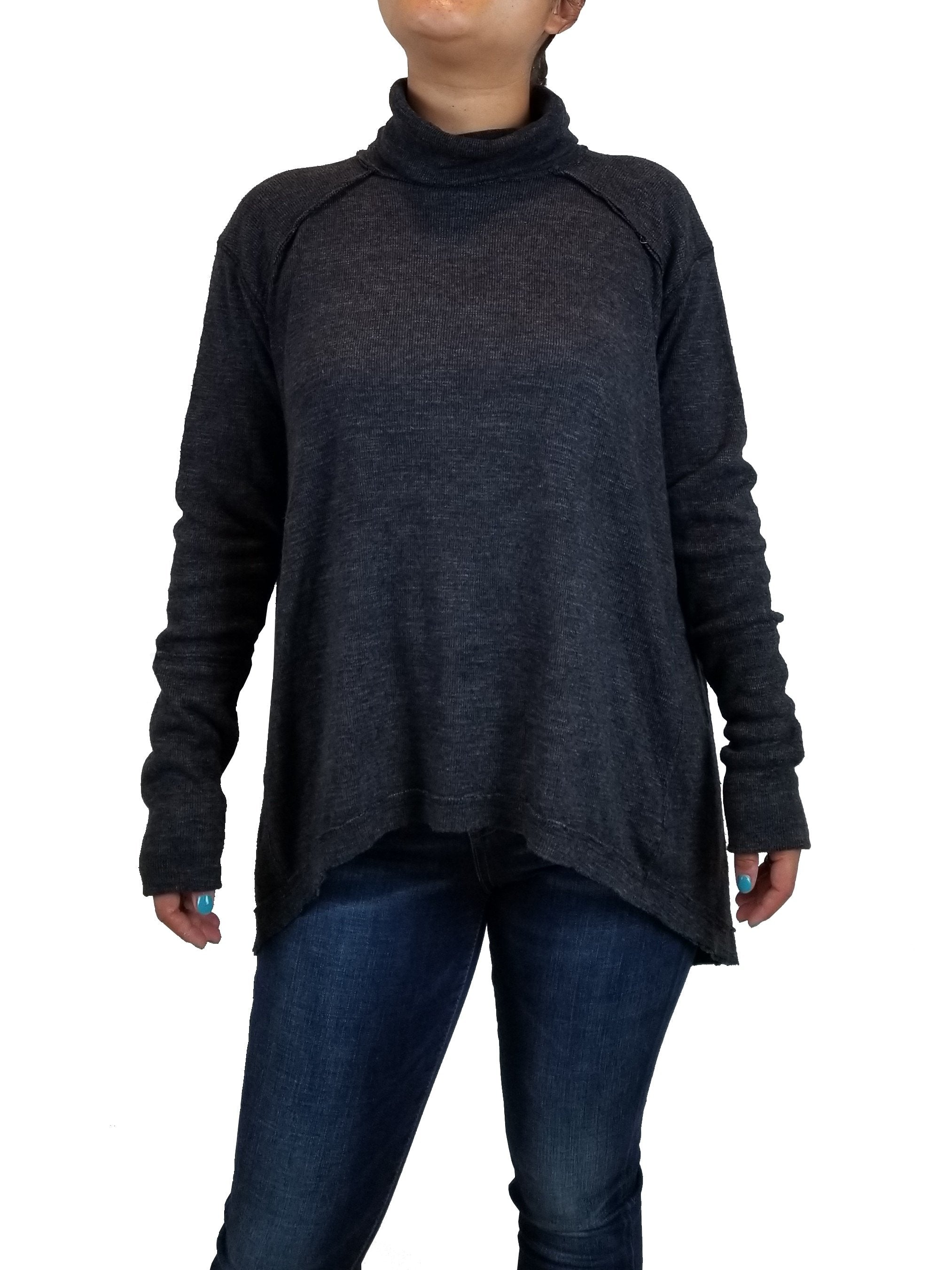 We the free Women's Turtleneck Pullover, Flowy turtleneck pullover for a comfy yet elegant look, Grey, 50% Polyester, 38% Cotton, 12% Rayon, women's Tops, women's Grey Tops, We the free women's Tops, sweater, shirt, turtleneck, loose sweater, women's black turtleneck with open back, all set black oversized backless sweater, wide cut boxy bodice