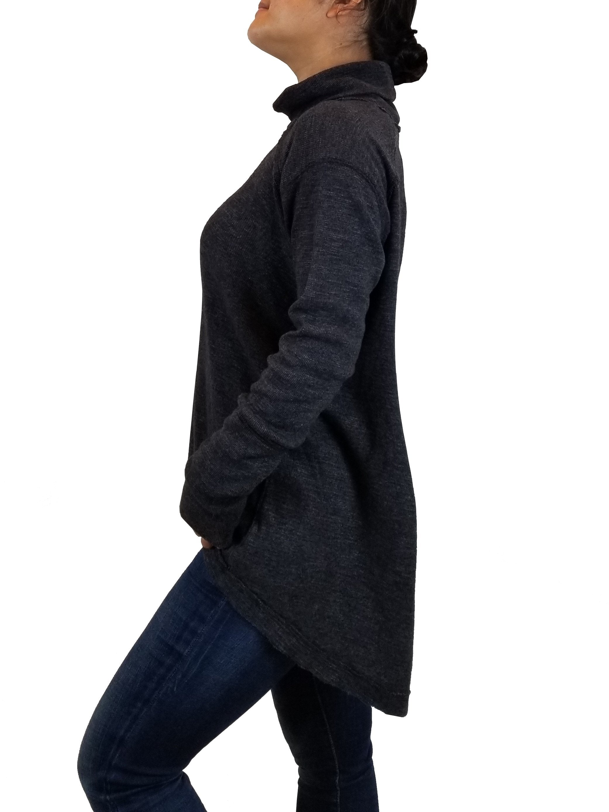 We the free Women's Turtleneck Pullover, Flowy turtleneck pullover for a comfy yet elegant look, Grey, 50% Polyester, 38% Cotton, 12% Rayon, sweater, shirt, turtleneck, loose sweater, women's black turtleneck with open back