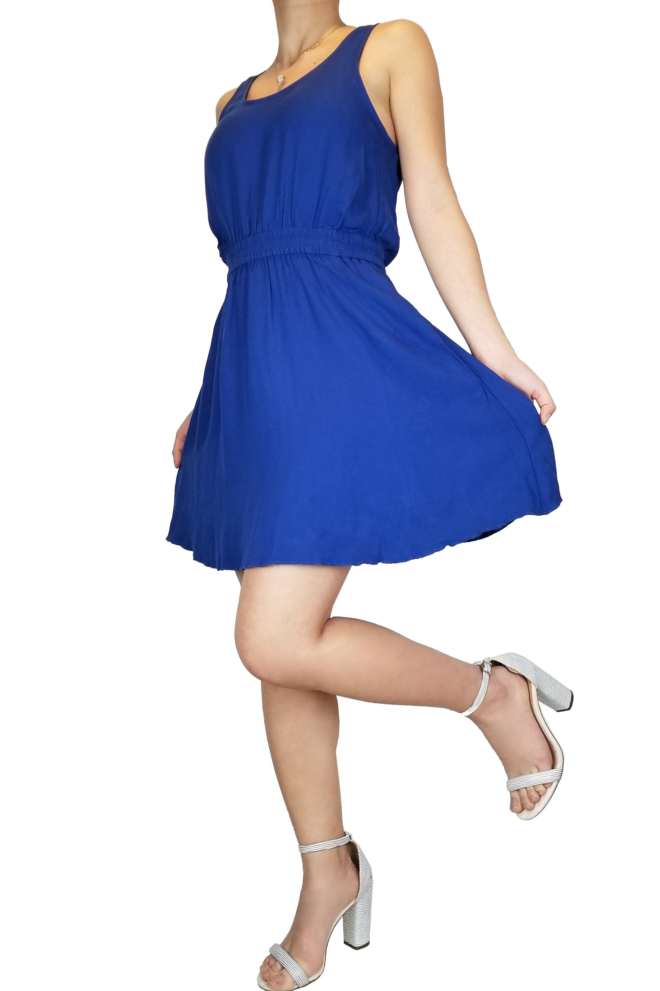 Talula Cute Blue Scoop Neck Dress, Vibrant blue dress for all occasions. The perfect summer dress!, Blue, 100% Rayon, Dress, cute sapphire dress, scoop neck dress, summer comfy dress, party blue dress