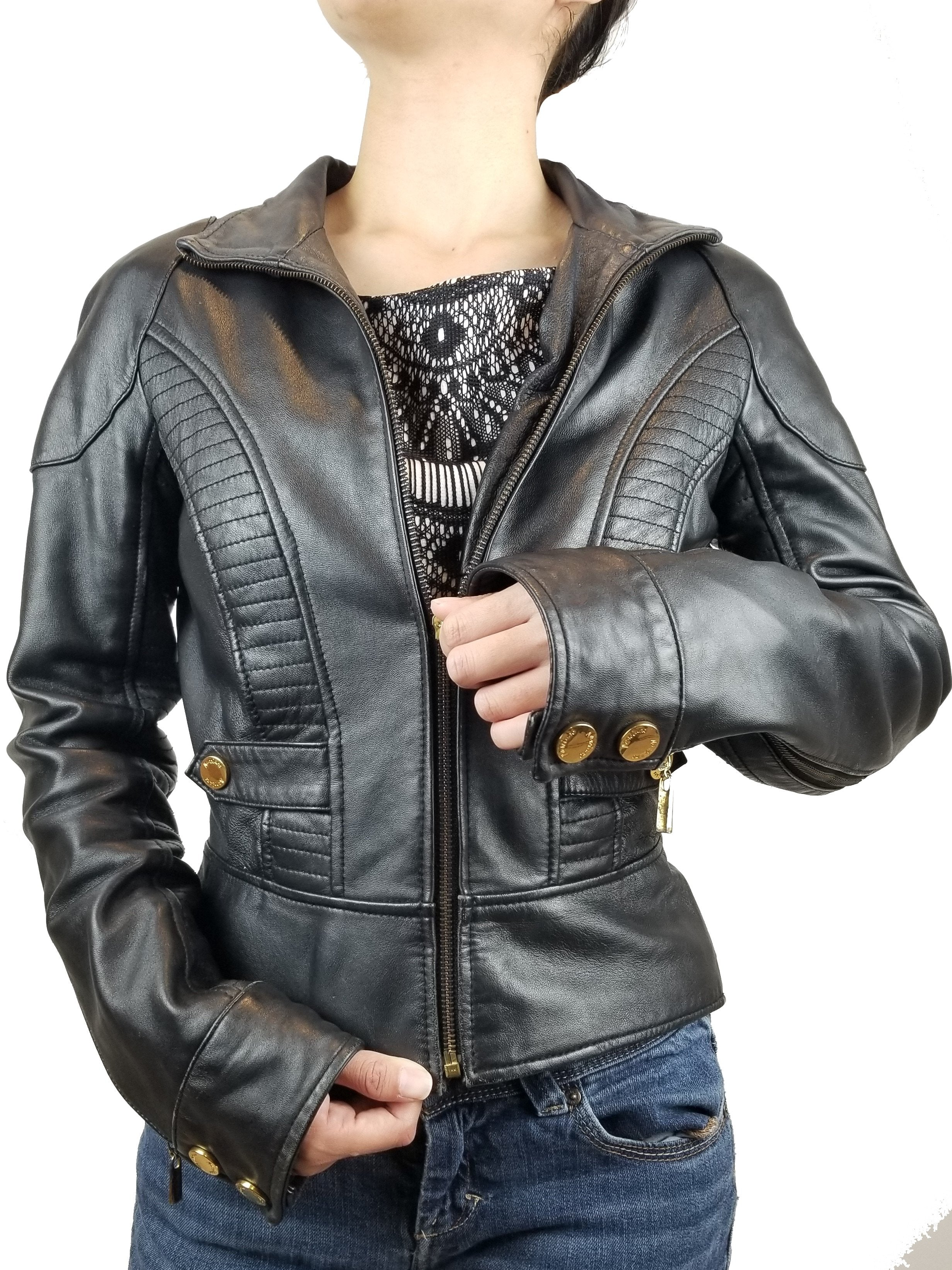 Marciano leather black jacket, Badass is the new feminine. Fits small. , Black, Shell: 100% Leather. Lining: 100% Polyester, women's Jackets & Coats, women's Black Jackets & Coats, Marciano women's Jackets & Coats, bomber black jacket, women's leather black jacket, women's leather designer jacket, fashion, classic leather moto women's jacket