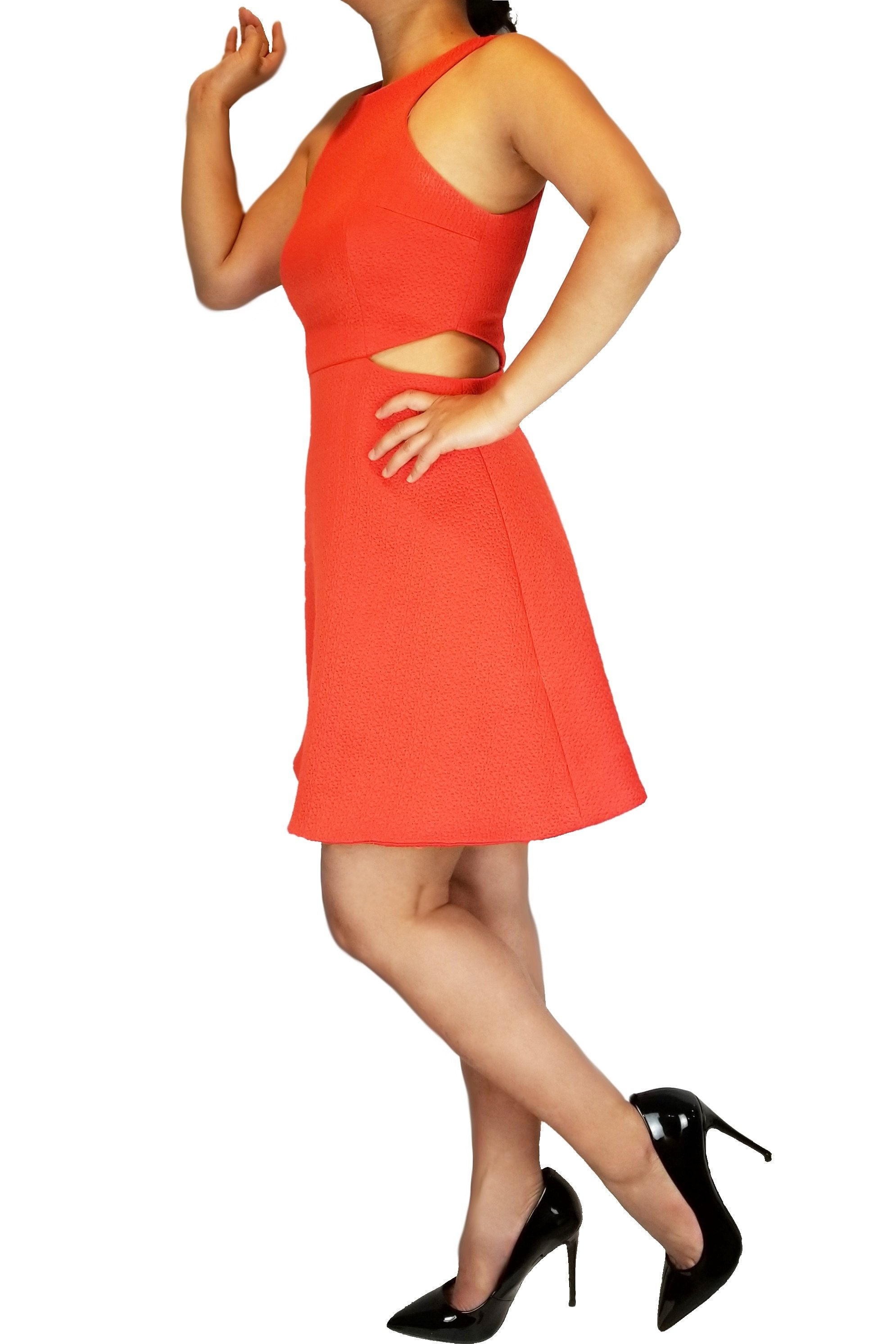 Club Monaco Orange Cutout Tika Dress, Check out the vibrant color and sexy design on this unique dress! Perfect for a fancy night out;), Orange, Shell 74% Polyester, 25% Cotton, 1% Elastane. Lining: 100% Polyester, dress, fashion, women's cocktail dress, women's night dress, fashion, orange prom cutout dress