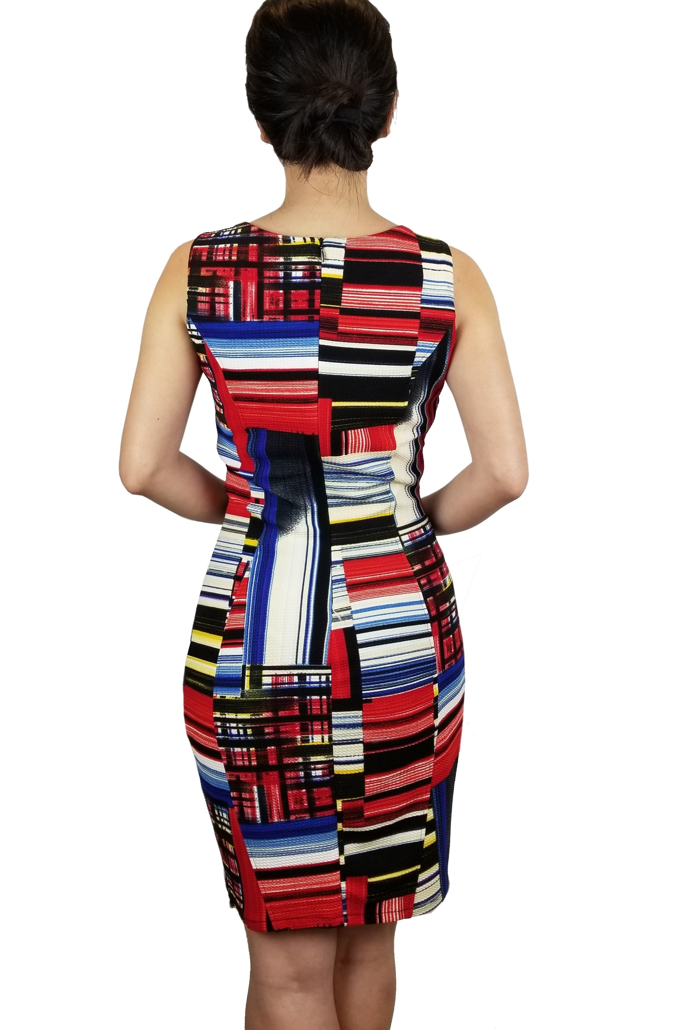 Midi Business Casual Dress, Body-hugging dress with unique design that matches your great taste. Comfortable fabric, Red, Black, Shell Polyester and Elastane. Lining: 100% Polyester, colored dress, multi colored dress with unique design, women's formal dress, women's body hugging dress