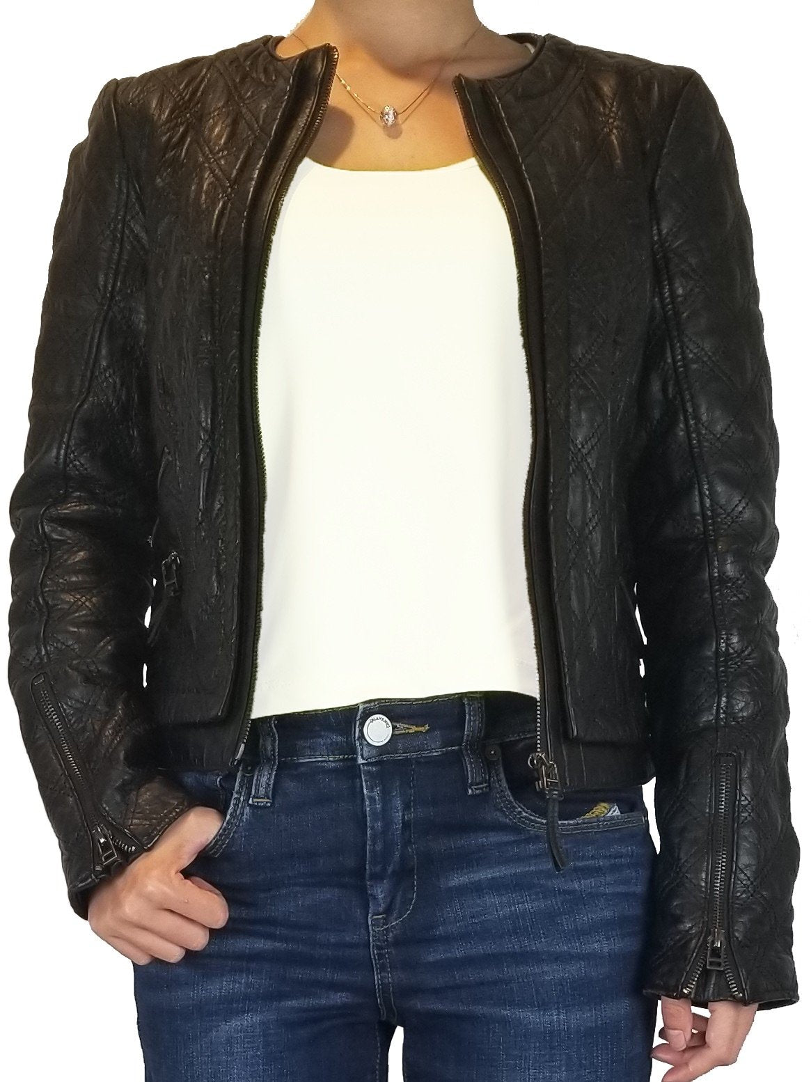 Zara Real Leather Jacket, Let your confidence shine through a kickass leather jacket., Black, 100% Leather, women's Jackets & Coats, women's Black Jackets & Coats, Zara women's Jackets & Coats, jacket, women's vintage leather moto jacket, women's designer leather jacket, women's black leather moto jacket, fashion