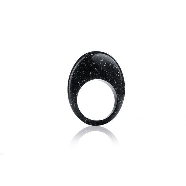 13and9 Rings Small / Anthracite Ellipse Geometric Ring