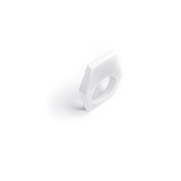 13and9 Rings White / Small Hexagon Geometric Ring