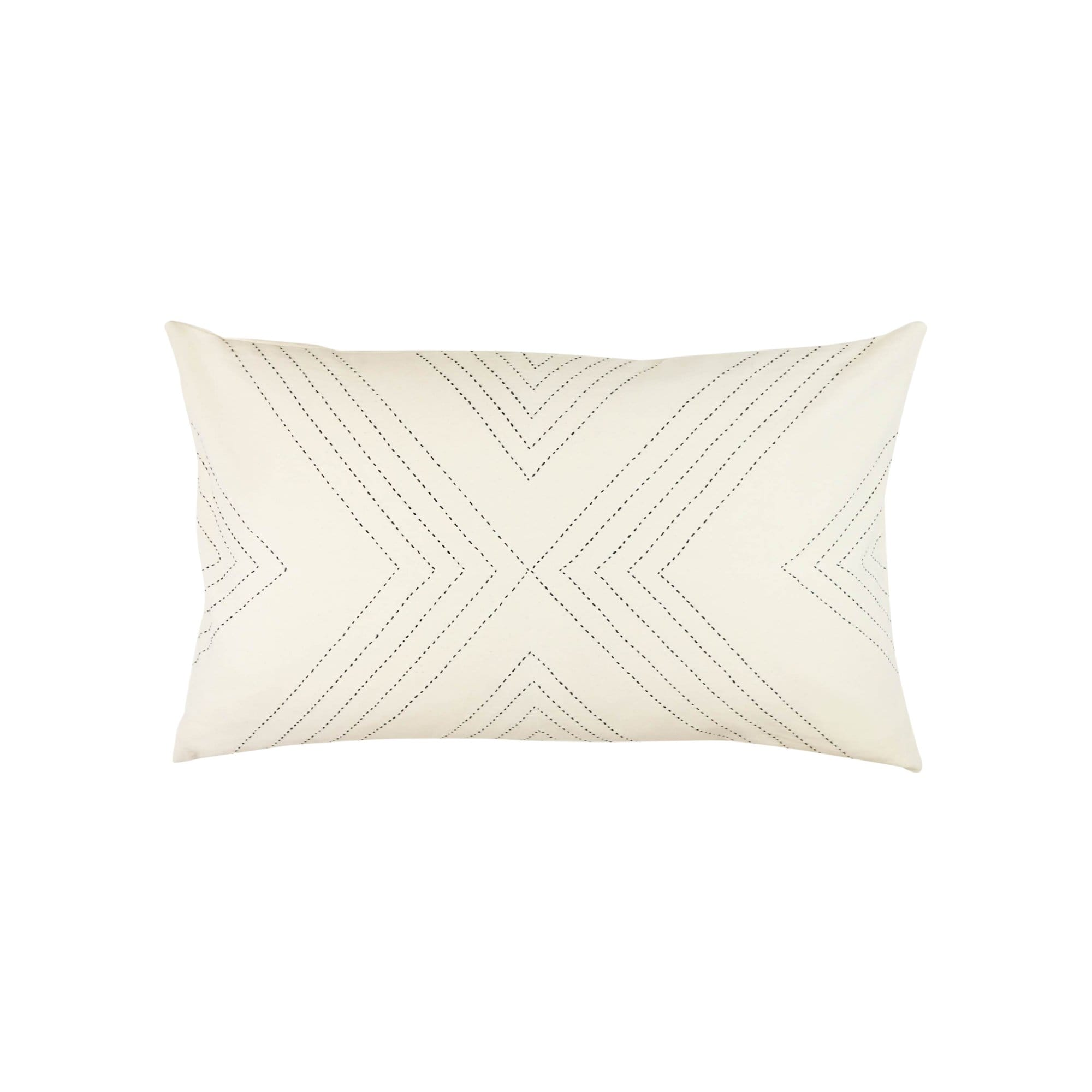 Anchal Project Cushions + Throws Bone Geometric Stitch Lumbar Pillow