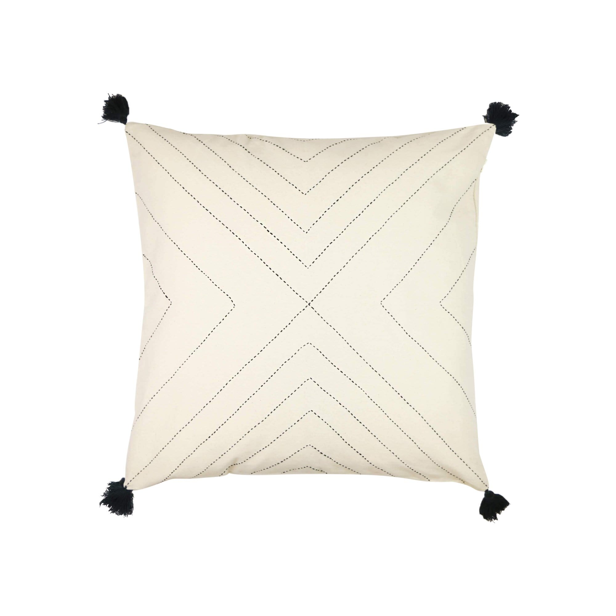 Anchal Project Cushions + Throws Bone Geometric Stitch Throw Pillow