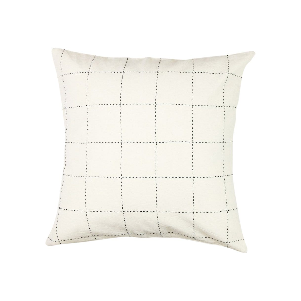 Anchal Project Cushions + Throws Medium Grid-Stitch Throw Pillow