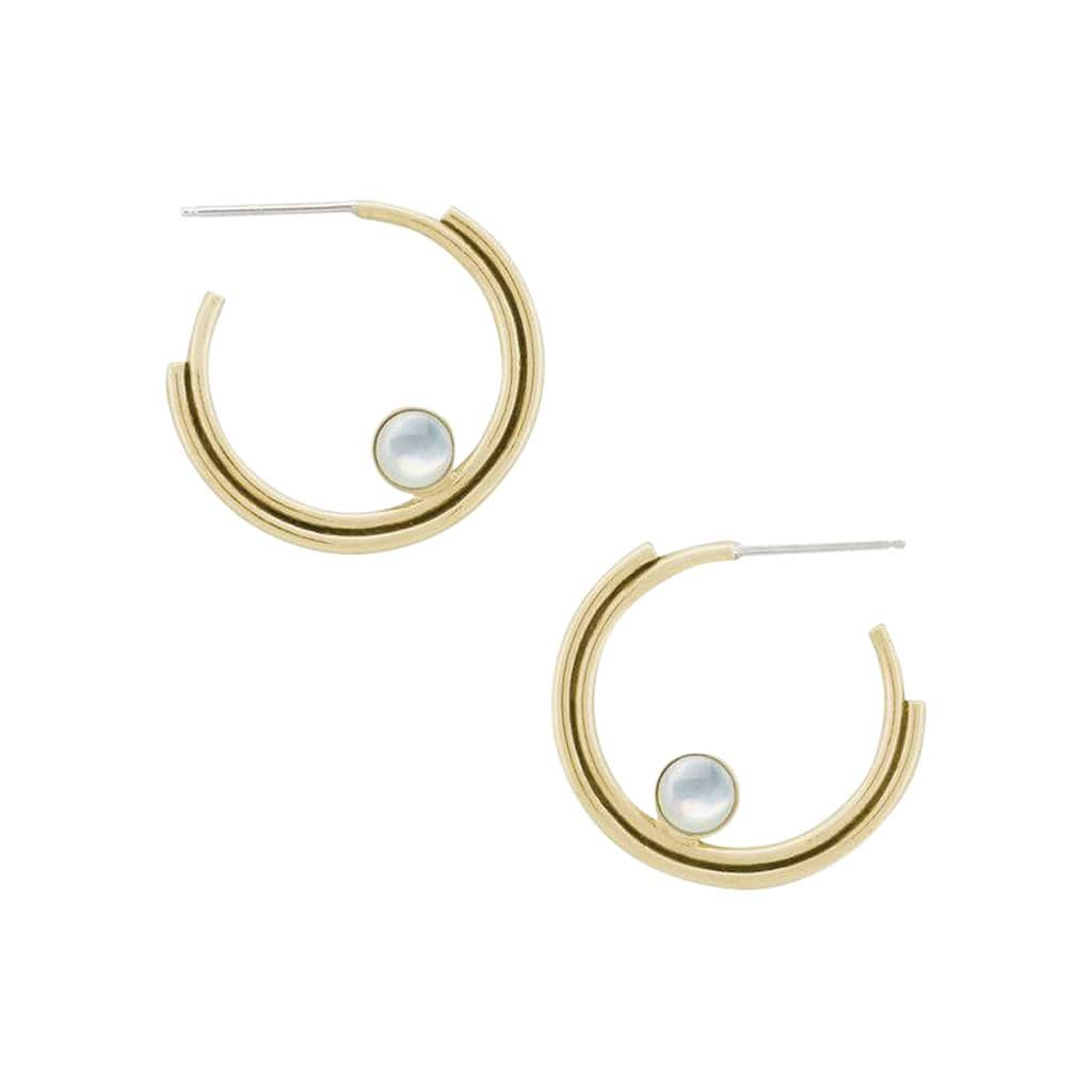 ARTIFACTS Earrings Mother of Pearl Arc Brass Stone Hoop Earrings