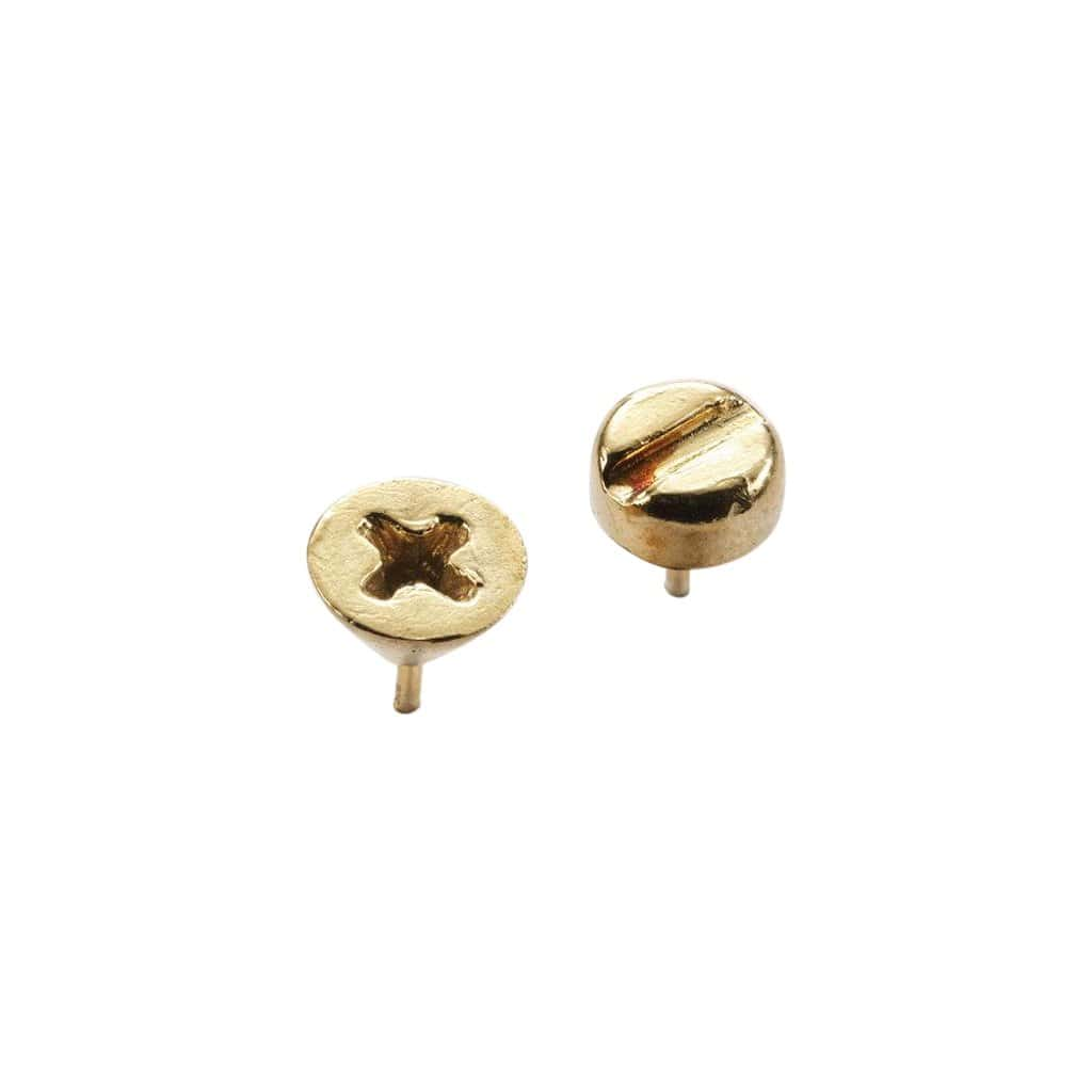 beroep | tech Earrings Gold vermeil Screw Head G Ear Studs