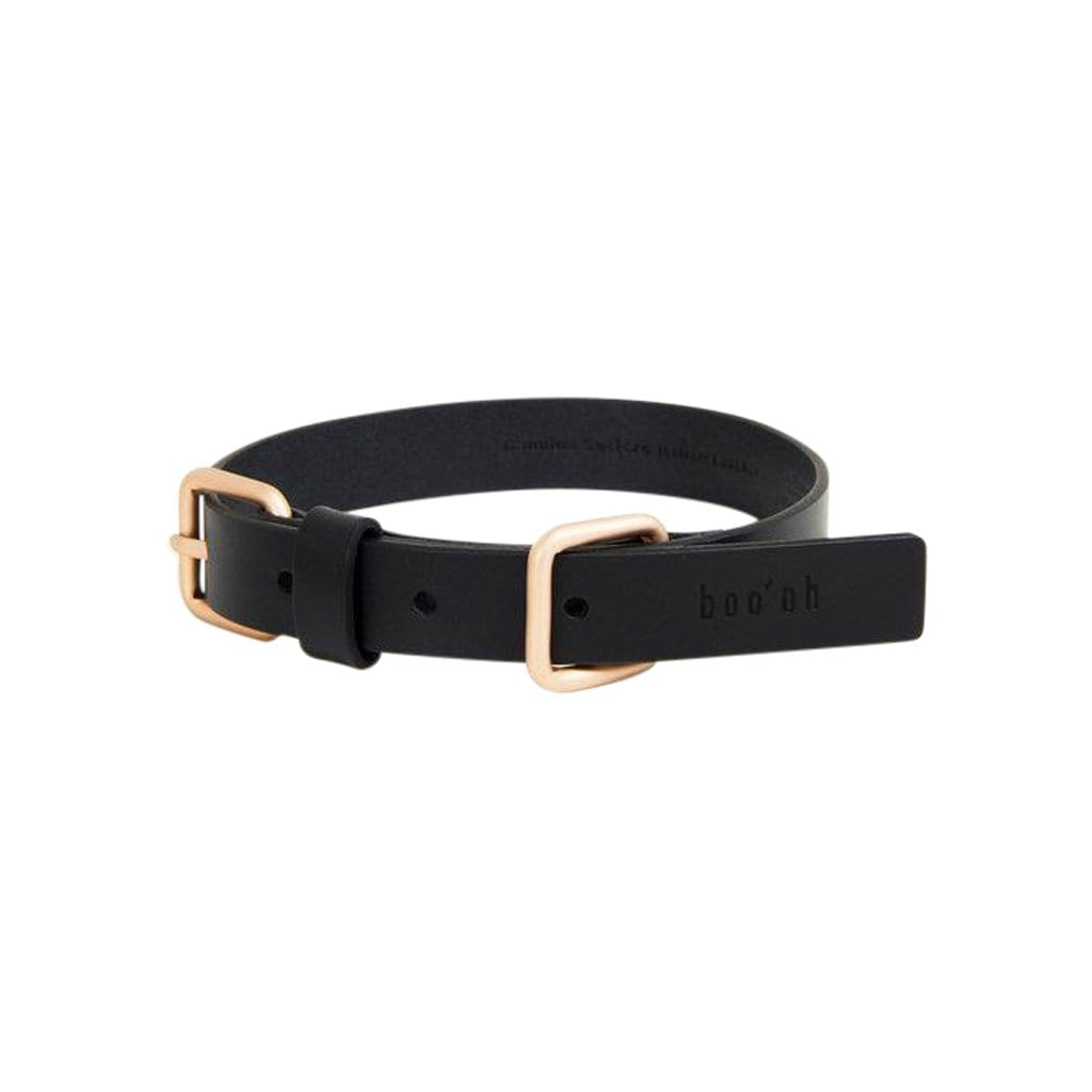 Boo Oh Collars + Harnesses Lumi Gold and Black Leather Collar