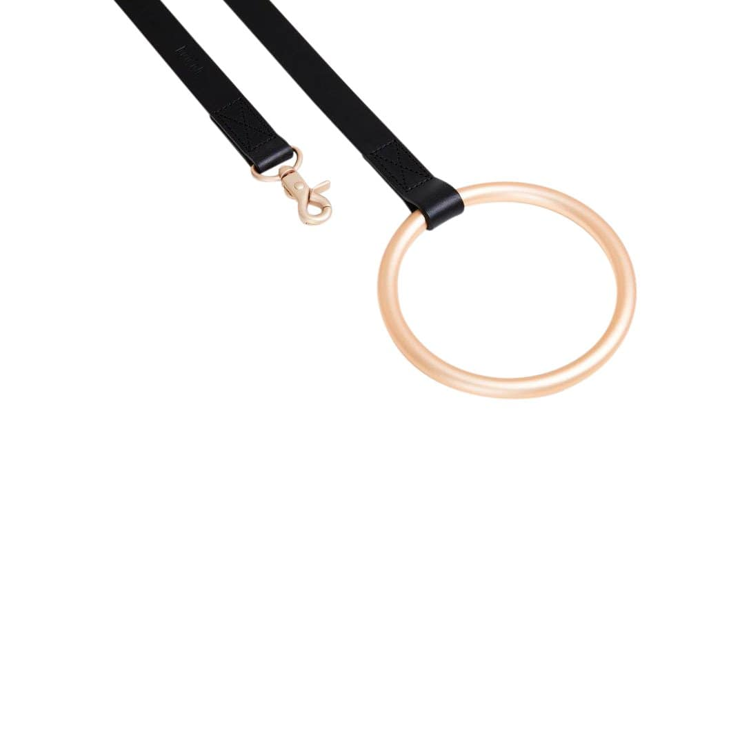 Boo Oh Leashes + Leads Black Lumi Gold and Black Leather Leash