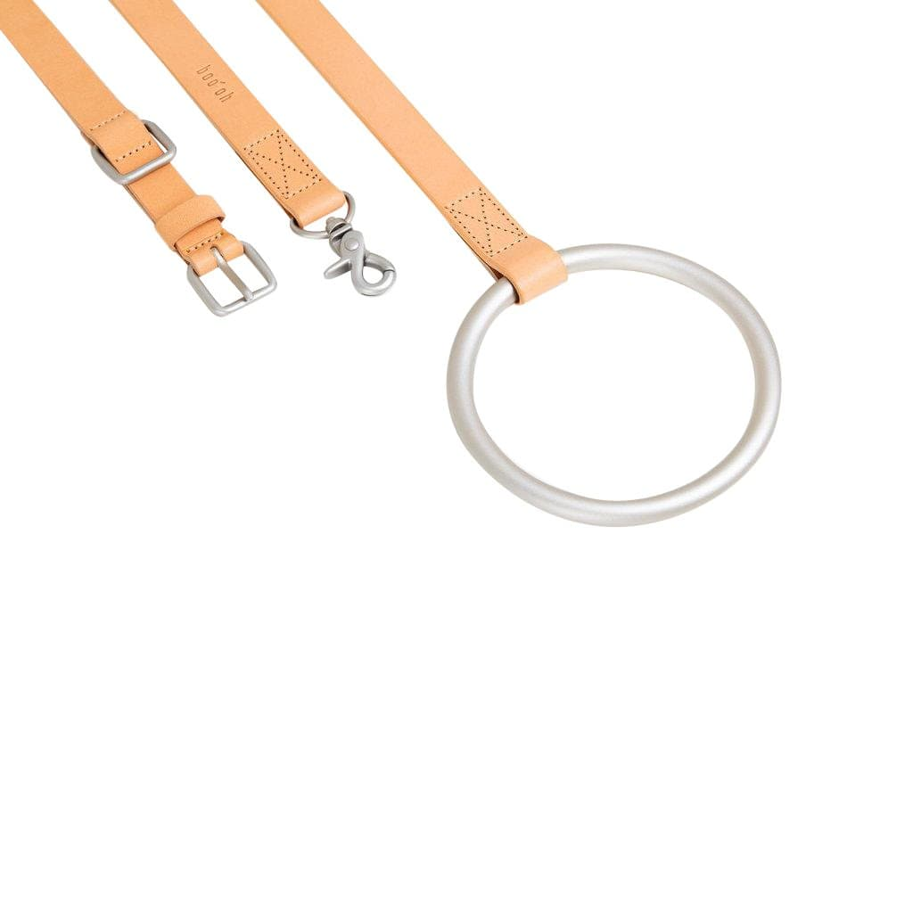 Boo Oh Leashes + Leads Lumi Silver and Tan Leather Leash and Collar Set