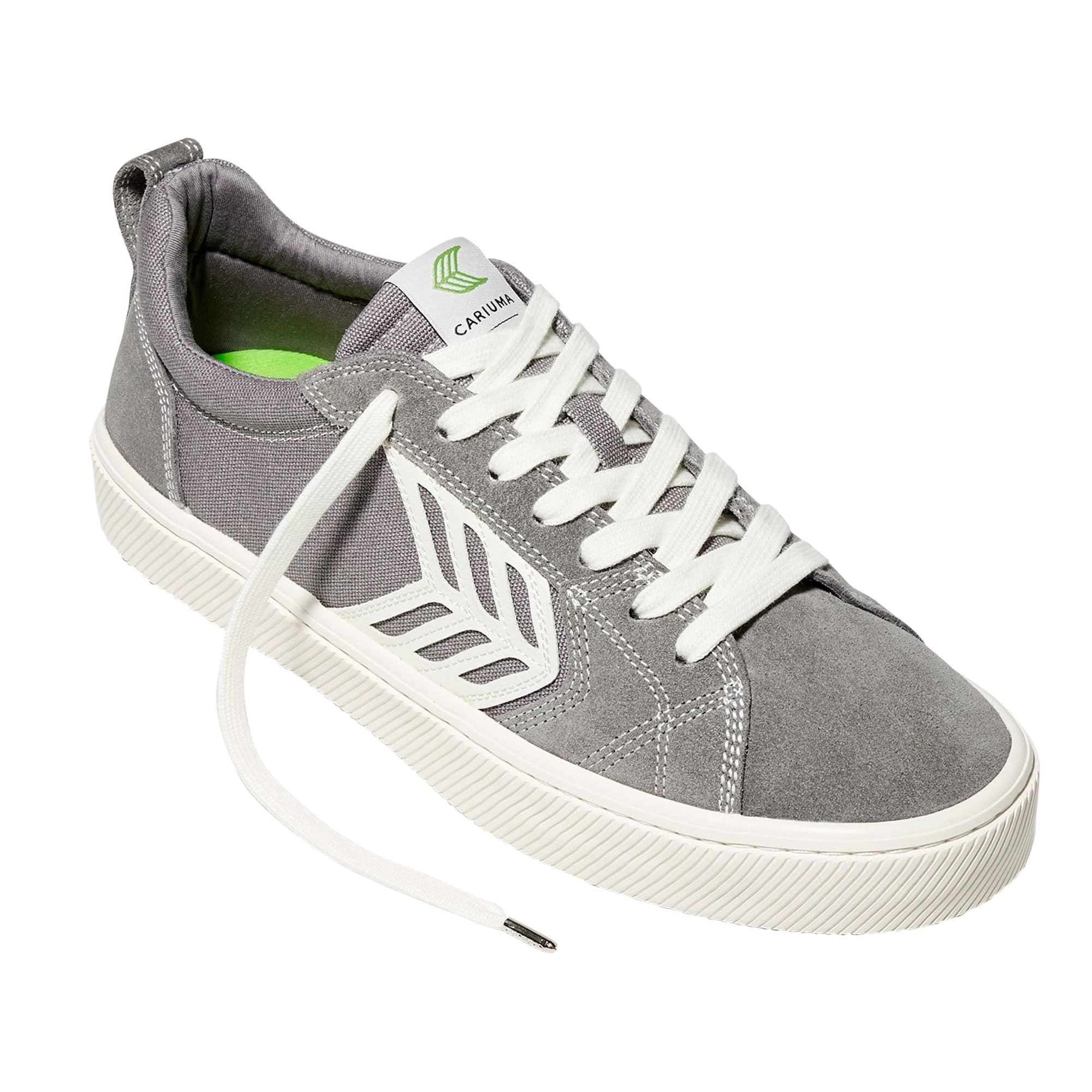 CATIBA PRO Skate Charcoal Grey Suede and Canvas Contrast Thread Ivory Logo Sneaker Women